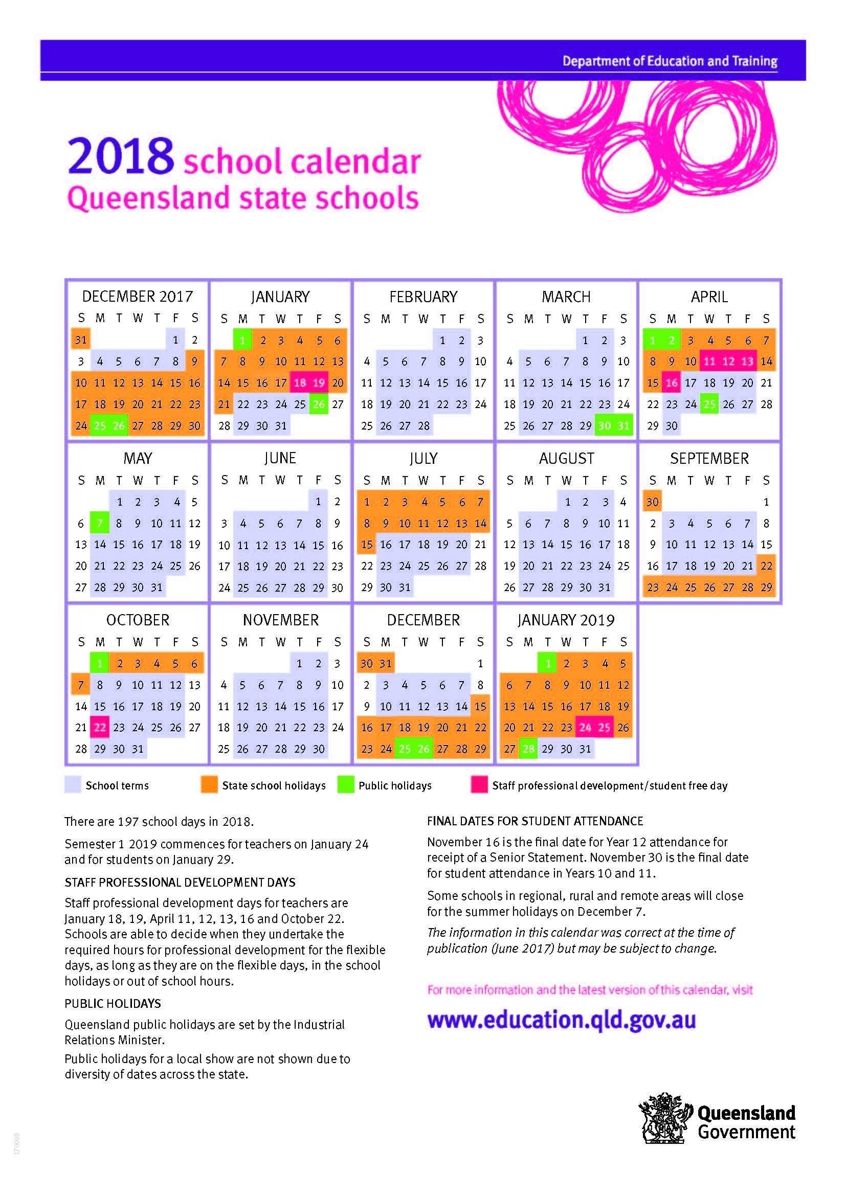 Impressive Year 12 School Calendar Qld • Printable Blank Calendar 2019 Calendar Qld Education