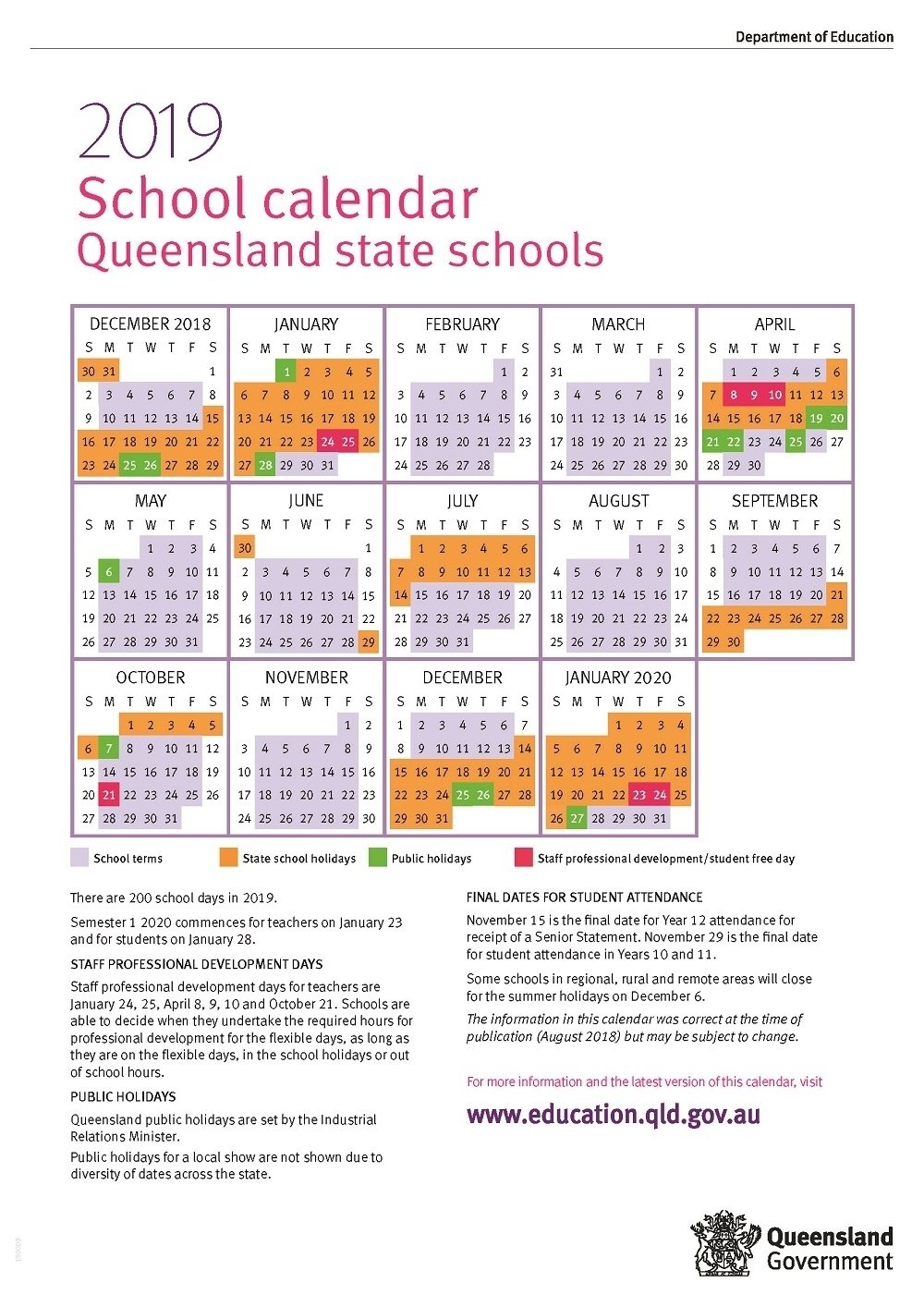 Impressive Year 12 School Calendar Qld • Printable Blank Calendar 2019 Calendar Queensland Printable