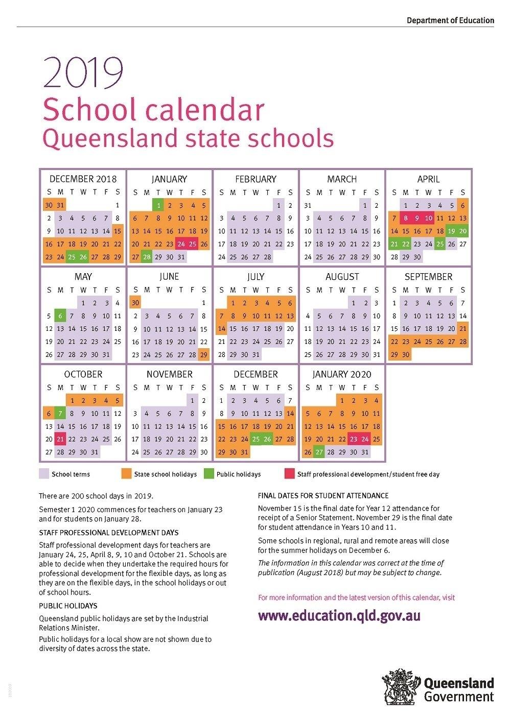 Impressive Year 12 School Calendar Qld • Printable Blank Calendar 2019 Calendar Queensland Printable
