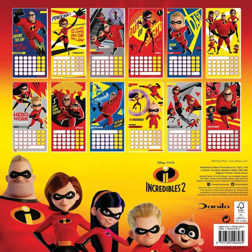 Incredibles 2 Official 2019 Square Wall Calendar, 2019 Wall Calendar Incredibles 2 Calendar 2019