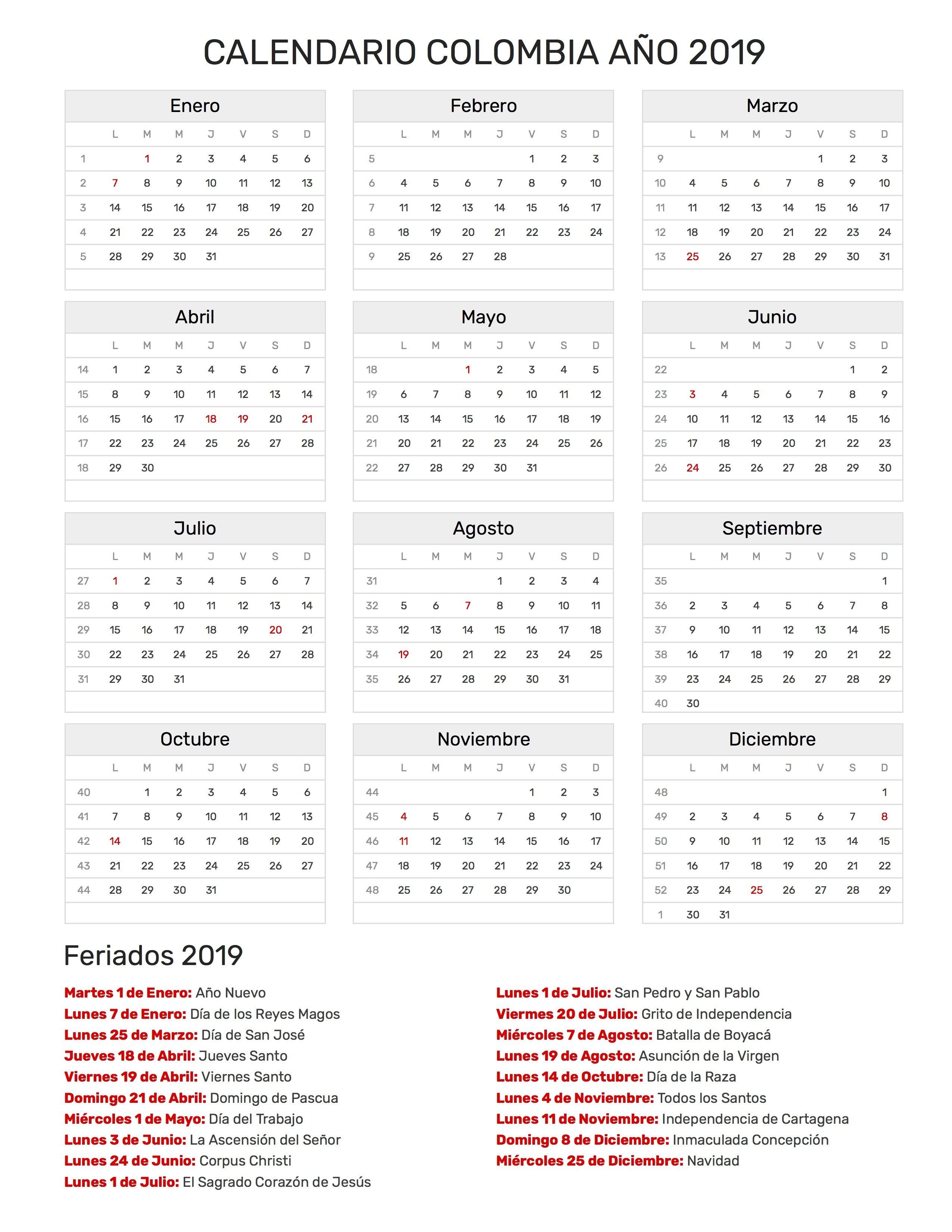 Index Of /print/calendario/clasico/2019 Calendar 2019 Colombia