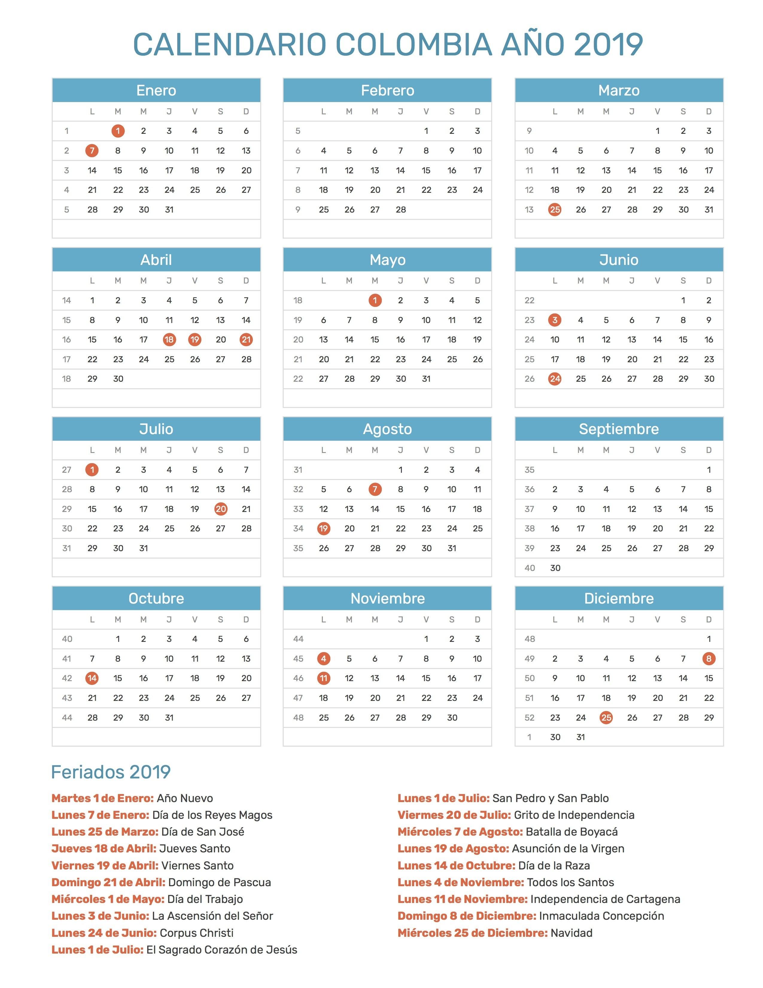 Index Of /print/calendario/normal/2019 Calendar 2019 Colombia