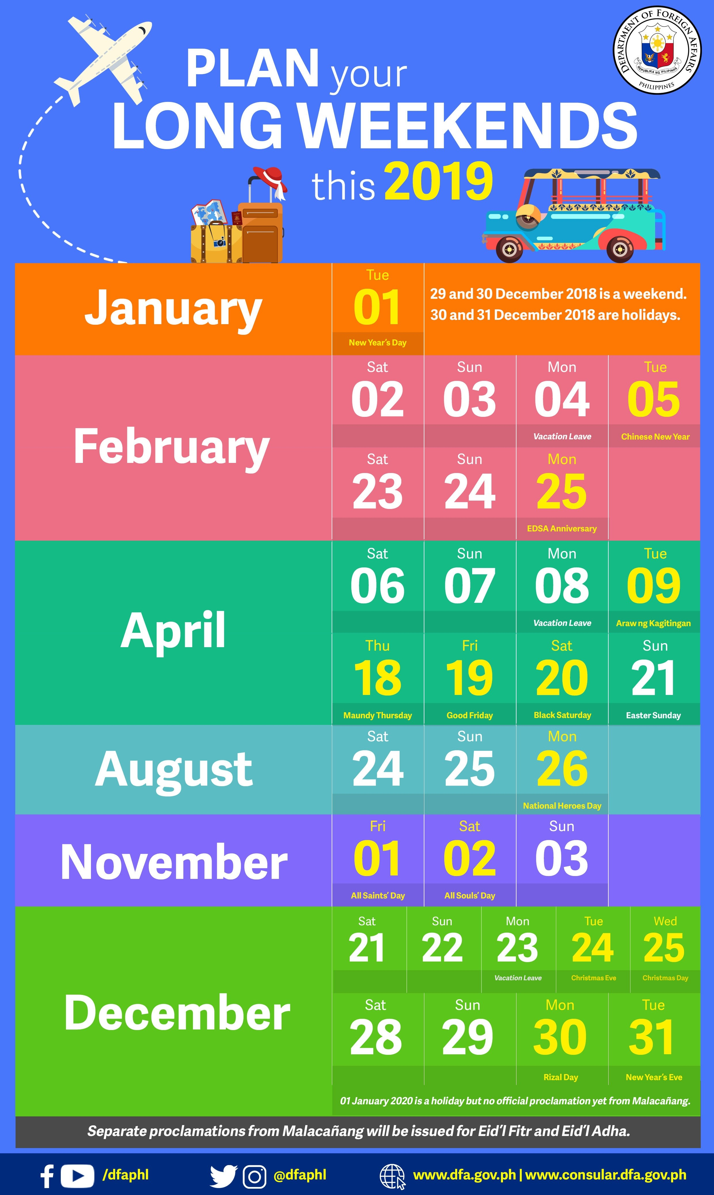 Infographic: Plan Your Long Weekends This 2019 Calendar 2019 Long Weekend