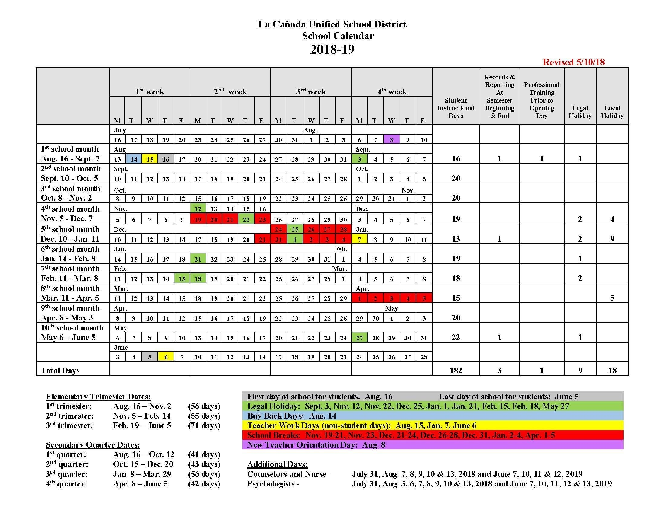Instructional Days Calendars – Yearly Calendars – La Cañada Unified School District 8 2019 Calendar