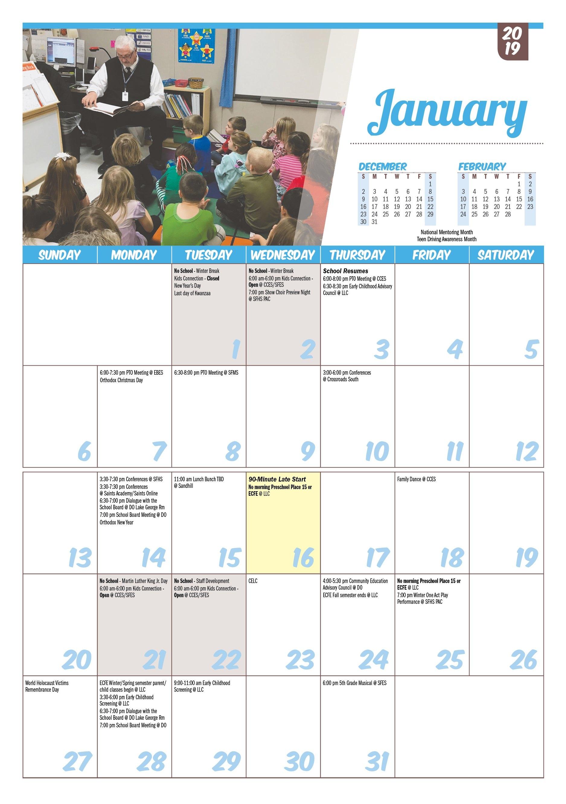 Isd 15, St. Francis: Printable Calendars 3 Corps Calendar 2019