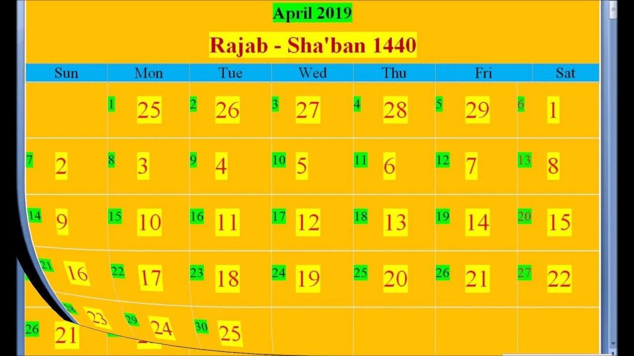 Islamic Hijri Calendar 2019 Based On Saudi Arabia - Youtube 2019 Ka Calendar