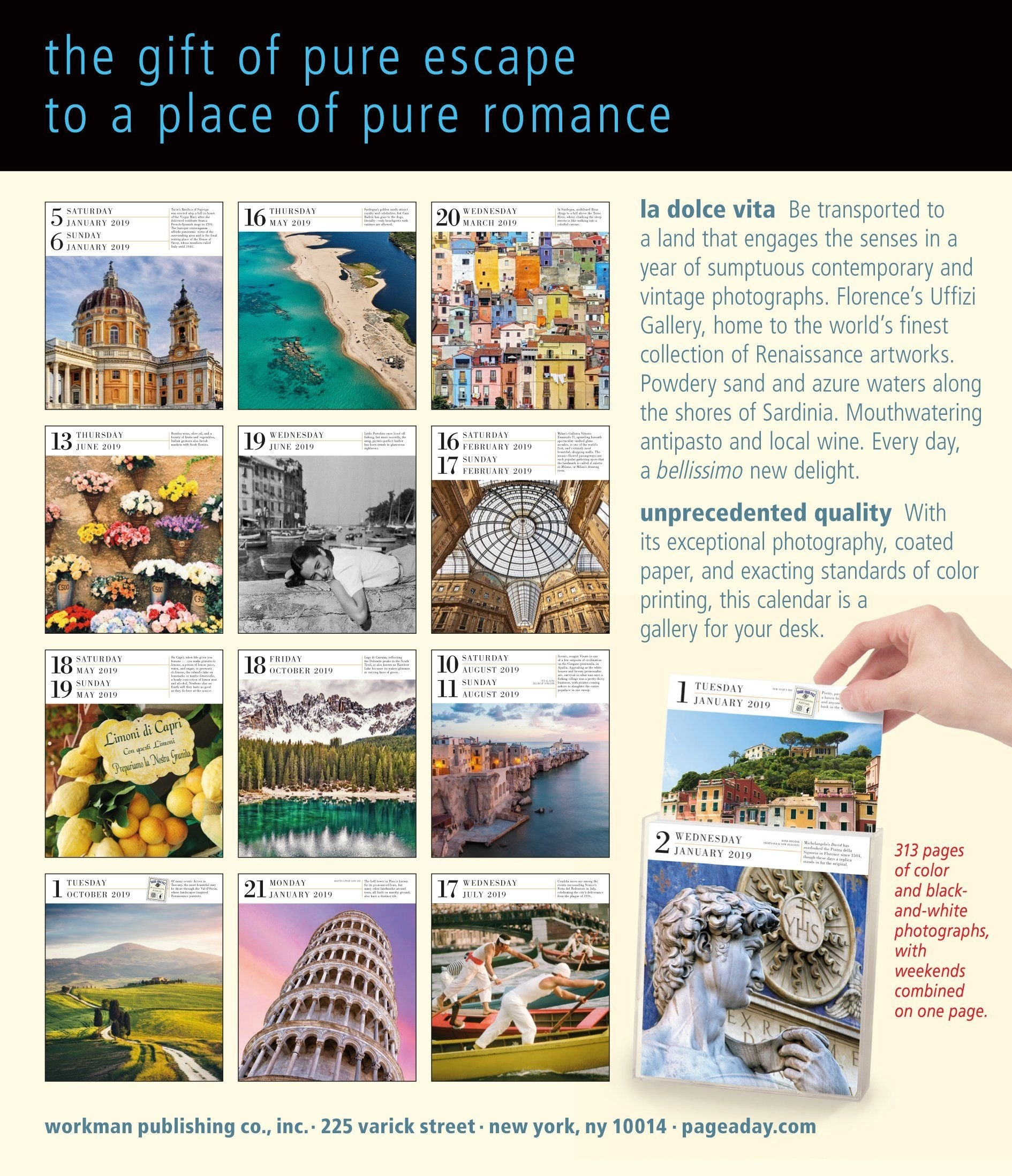 Italy Page-A-Day Gallery Calendar 2019 Calendar – Day To Day Page A Day Calendar 2019