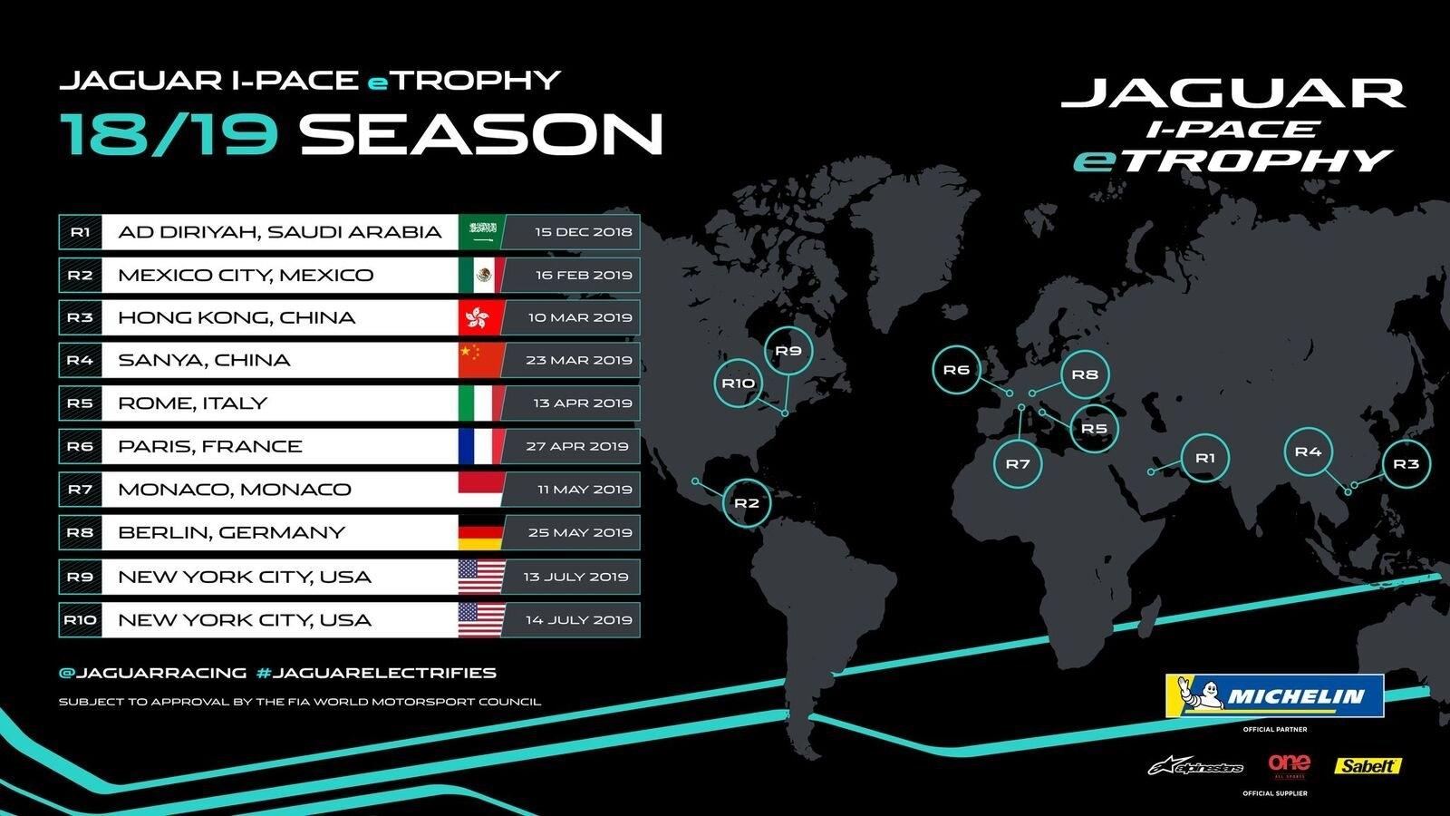 Jaguar I-Pace Etrophy Season One Calendar Revealed Formula E Calendar 2019