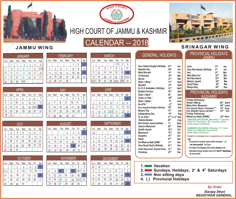 Jammu & Kashmir High Court E Calendar 2019 Download
