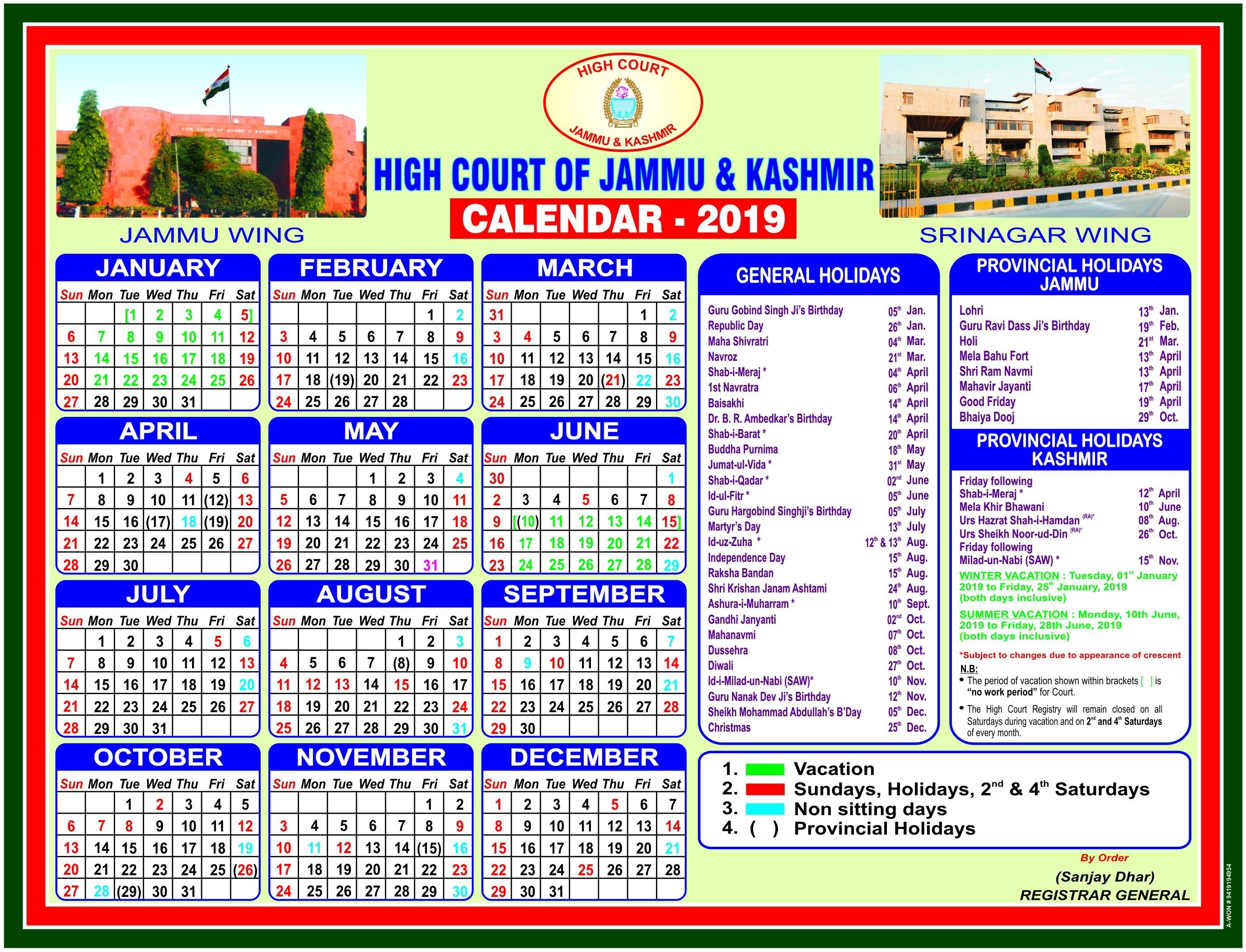 Jammu & Kashmir High Court J&k Calendar 2019