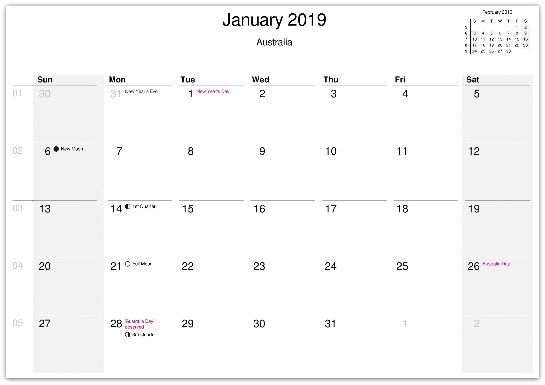 January 2019 Australia Holidays Calendar | Calendar 1St Qtr 2019 Calendar 2019 1St Quarter
