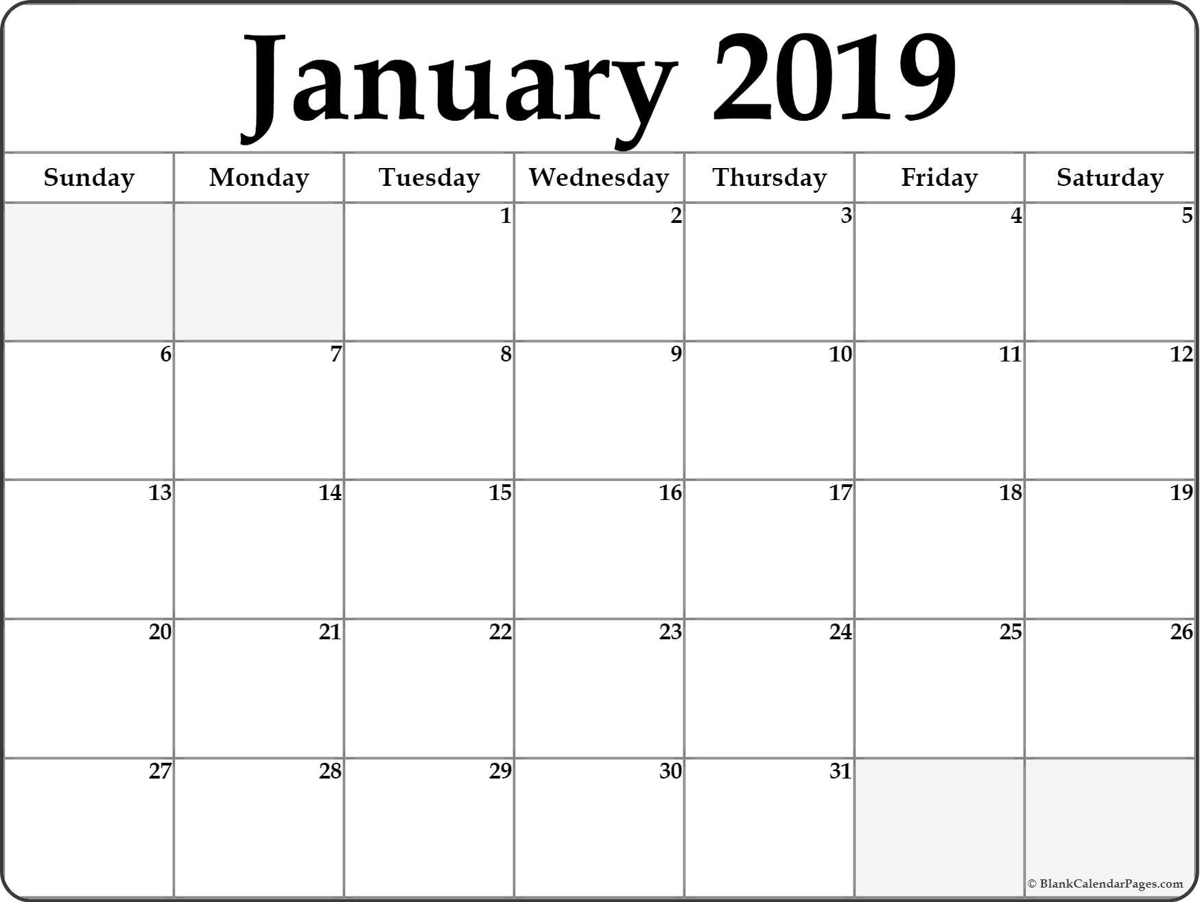 January 2019 Blank Calendar Collection. January 2 2019 Calendar