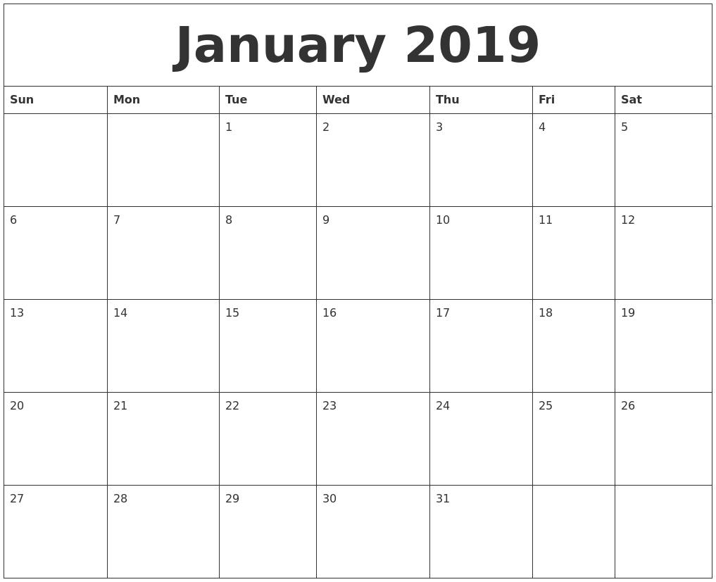 January 2019 Calendar Calendar 2019 Jan
