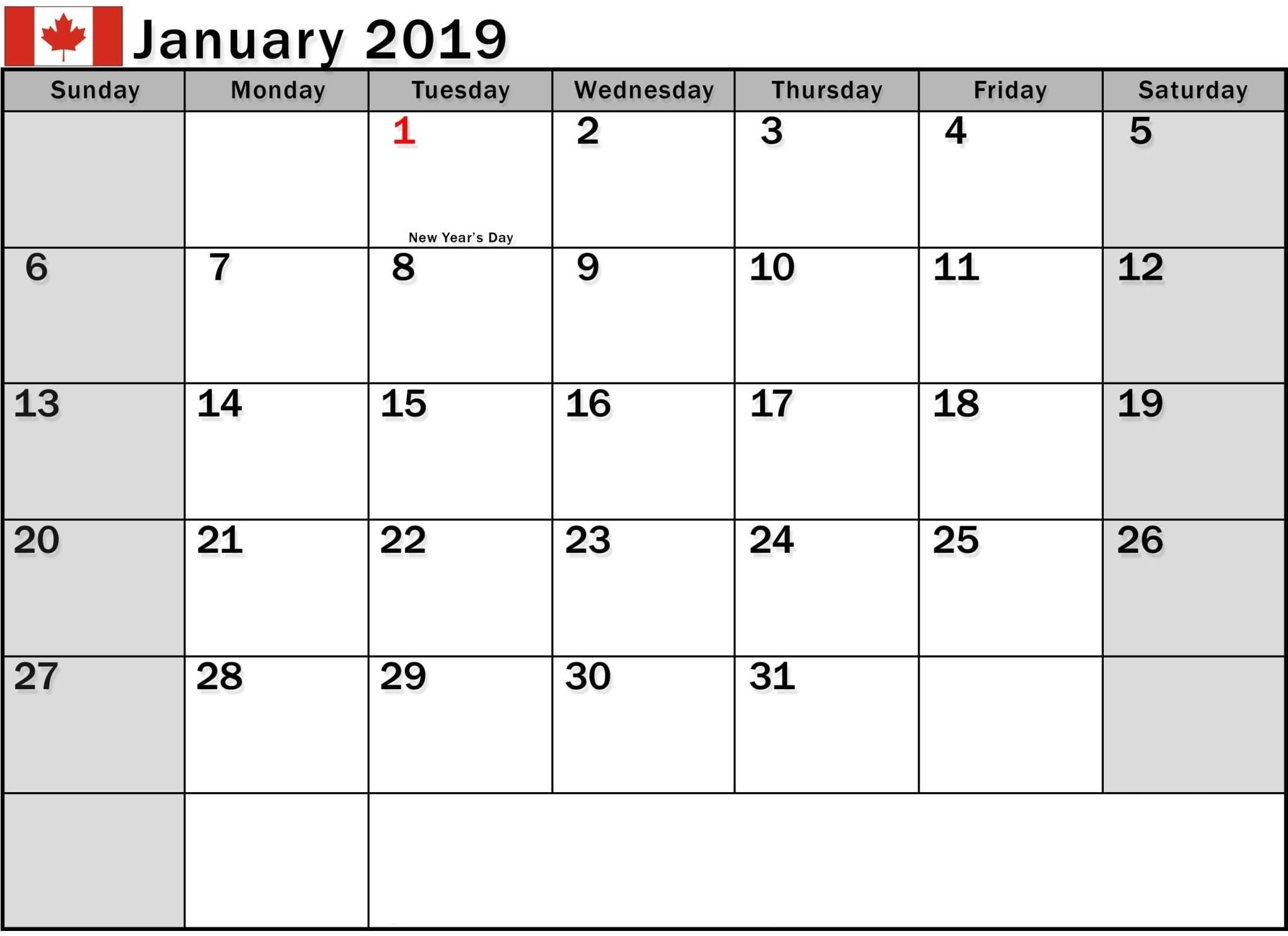 January 2019 Calendar Canada Printable | 150+ January 2019 Calendar Calendar Of 2019 Canada