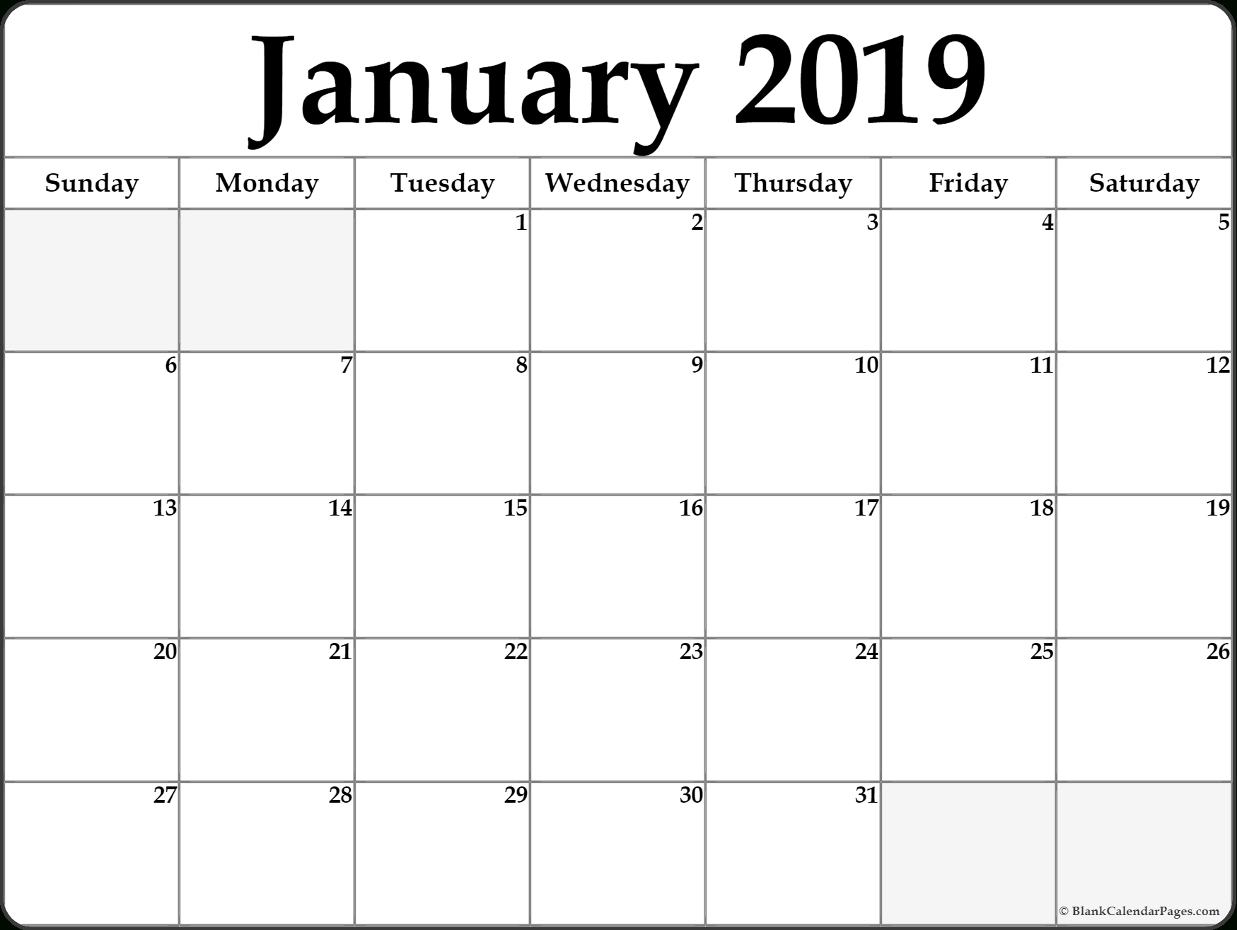 January 2019 Calendar Document Calendar 2019 Doc