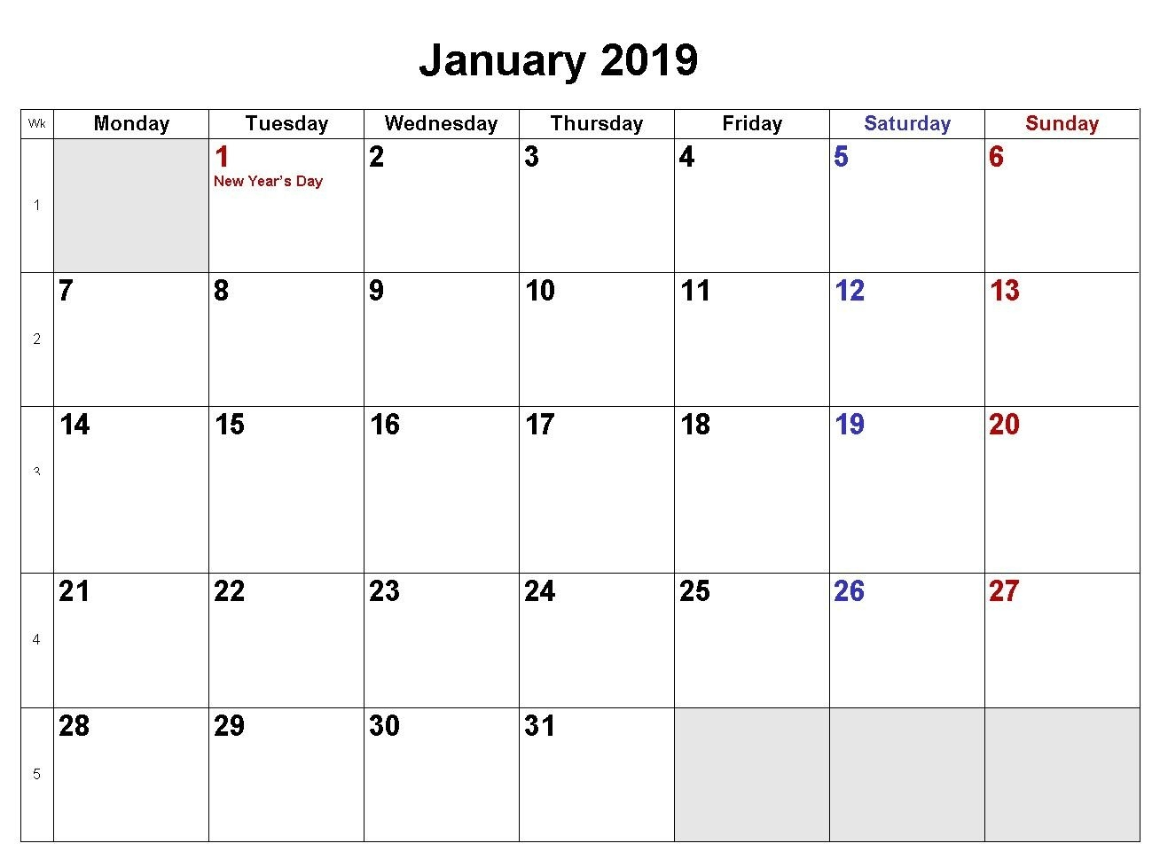 January 2019 Calendar Download In Word Excel Pdf Formats | Monthly Calendar 2019 Download Word