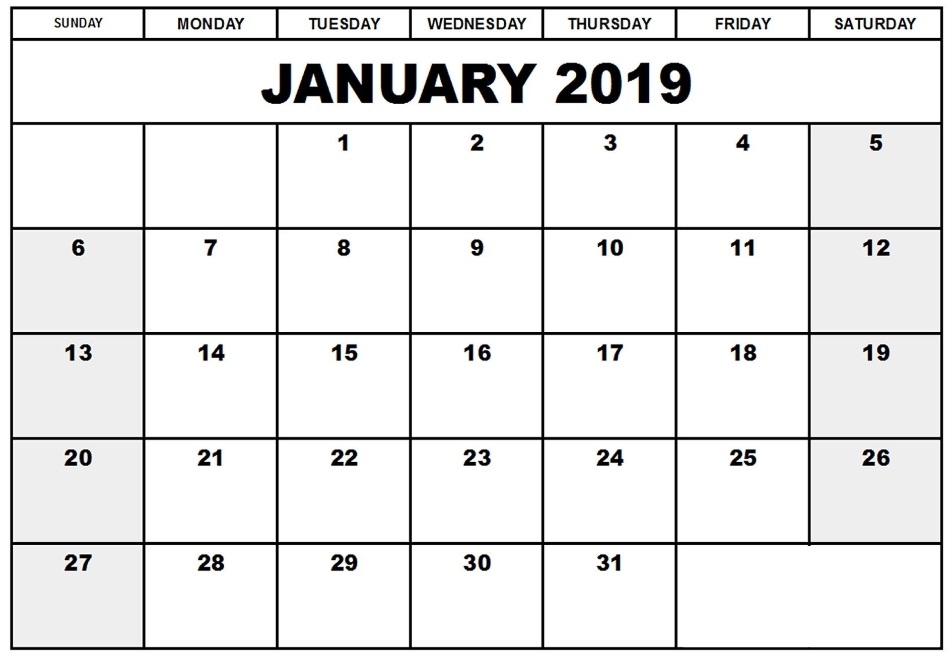 January 2019 Calendar Etsy Free Printable Words Calendar 2019 Etsy