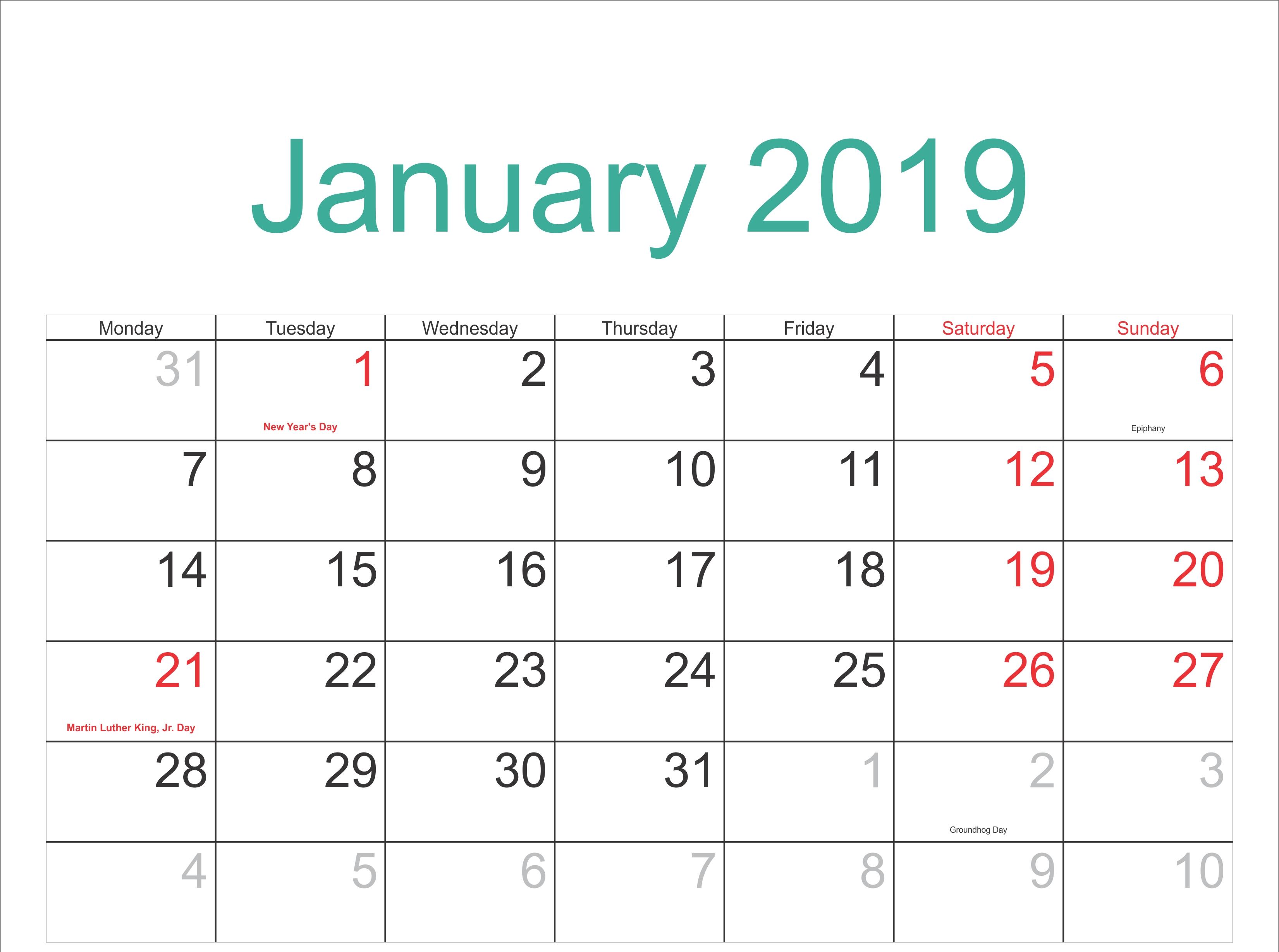 January 2019 Calendar Festivals Pdf - Free January 2019 Calendar Calendar Of 2019 With Festivals