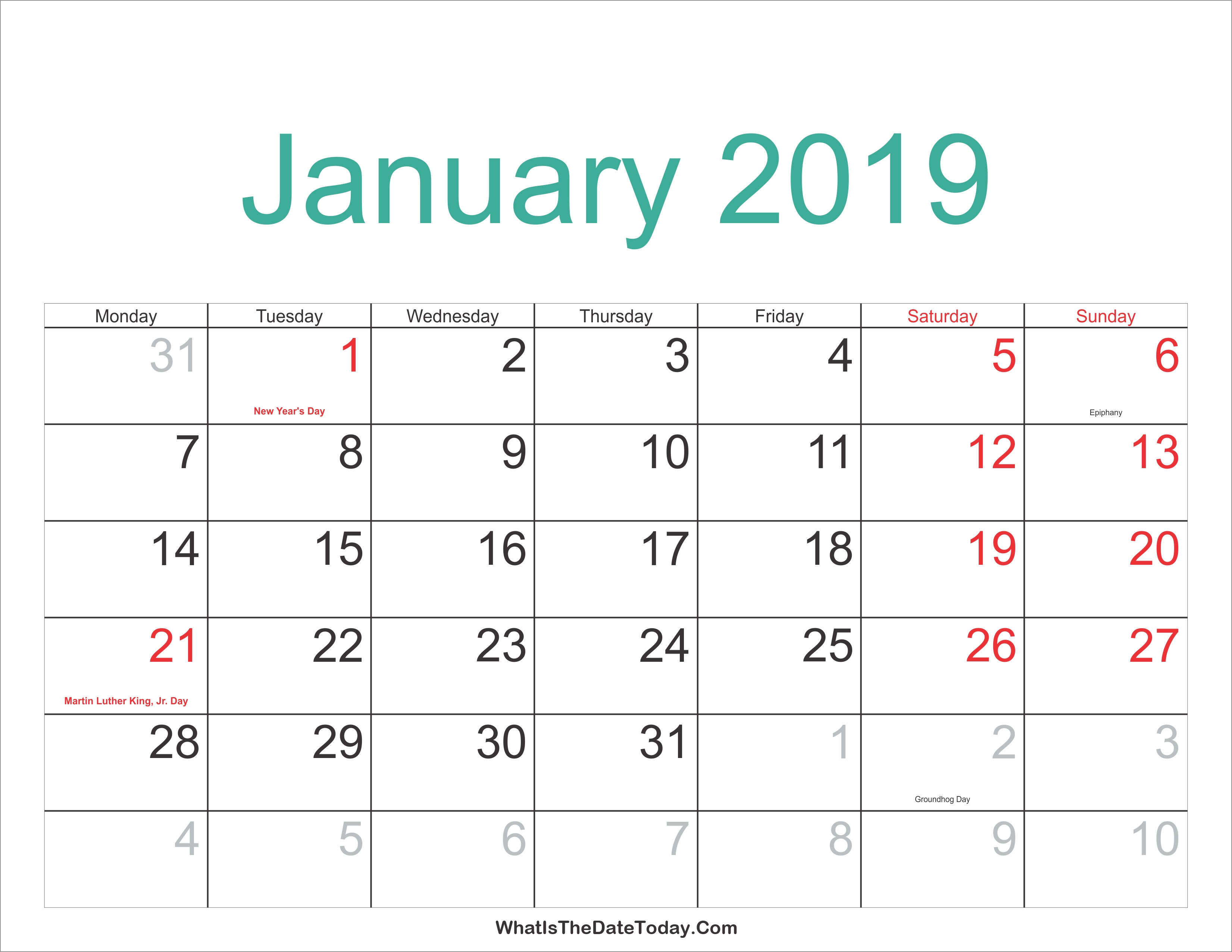 January 2019 Calendar Holidays January 8 2019 Calendar