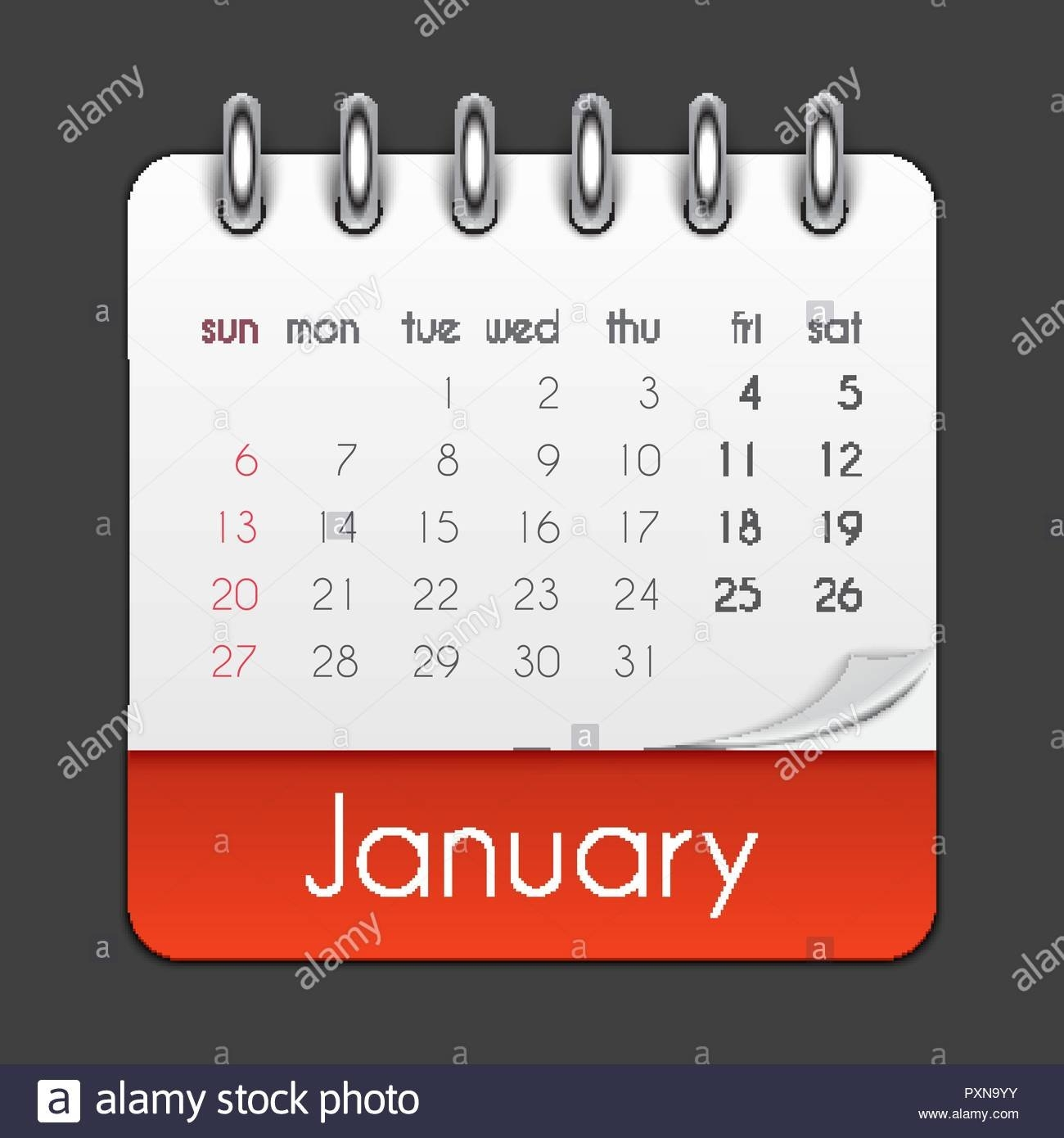 January 2019 Calendar Leaf Template Vector Illustration Stock Vector January 7 2019 Calendar