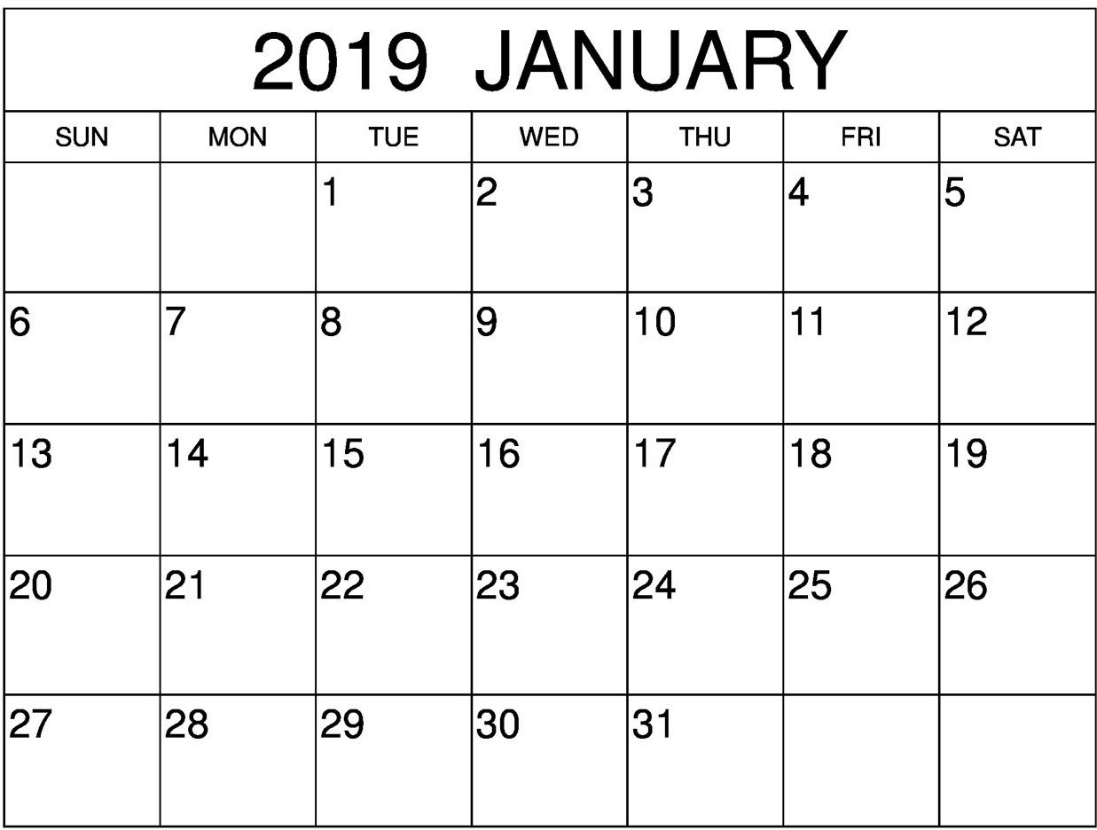 January 2019 Calendar Pdf | Free Printable 2018 Calendar Template Word Calendar 2019 Outline