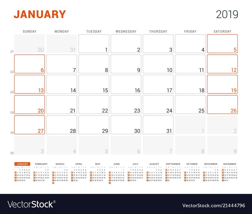 January 2019 Calendar Planner For 2019 Year Vector Image January 5 2019 Calendar
