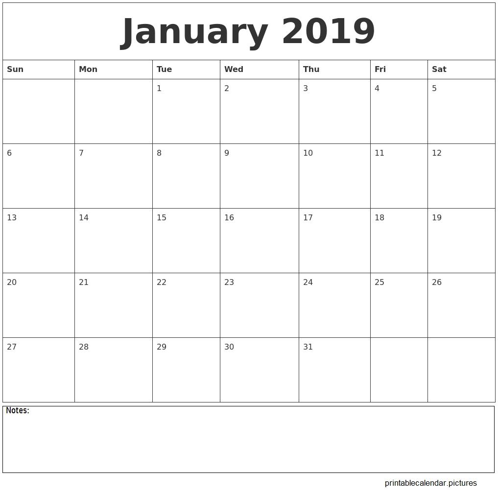 January 2019 Calendar Printable | January 2019 Calendar Printable Calendar 2019 Excel Starting Monday