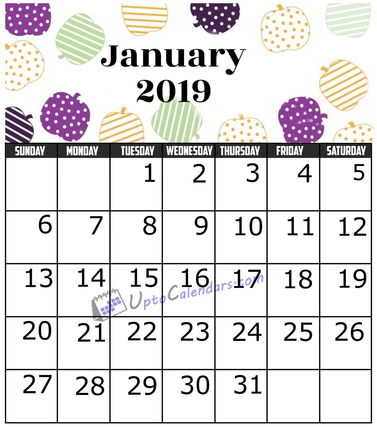 January 2019 Calendar Printable Template With Holidays Pdf Word January 8 2019 Calendar
