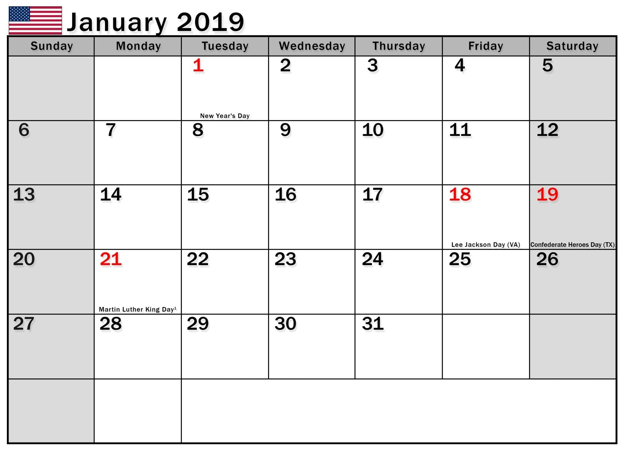 January 2019 Calendar Usa – Free Calendar Templates & Worksheets For Calendar 2019 Usa
