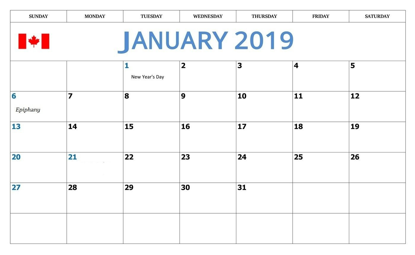 January 2019 Calendar With Canada Holidays | Monthly Calendar Calendar 2019 Canada Holidays