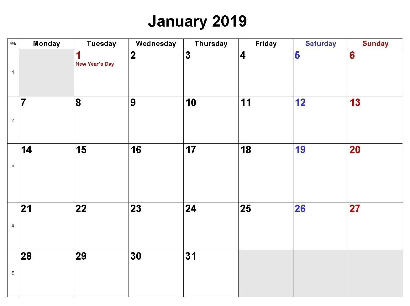 January 2019 Calendar Word Doc | Template Of January 2019 Blank Calendar 2019 Doc