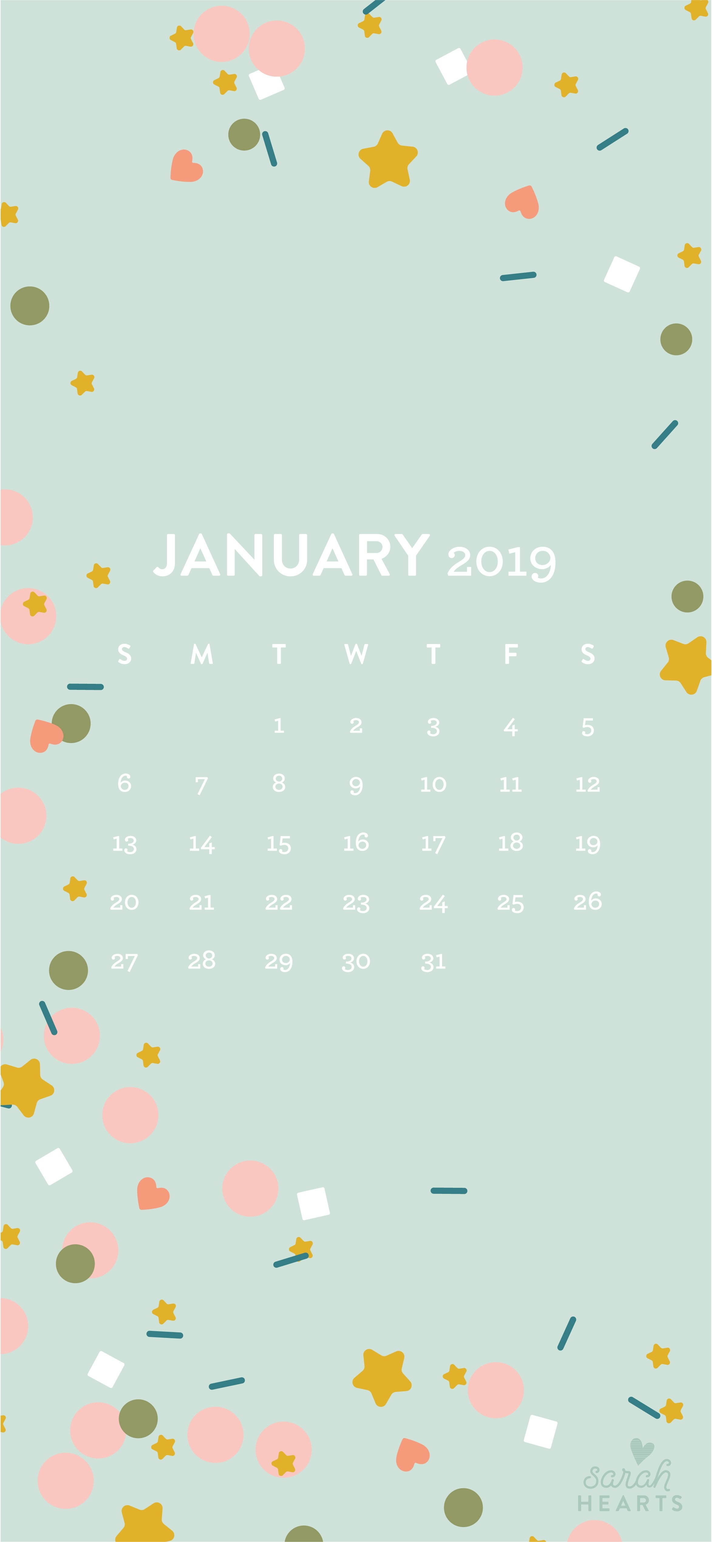 January 2019 Confetti Calendar Wallpaper - Sarah Hearts Calendar 2019 On My Iphone
