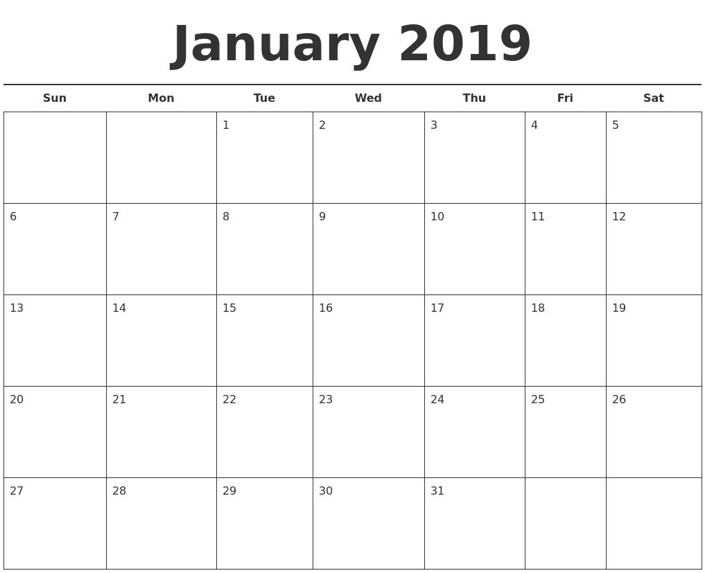 January 2019 Free Calendar Template Calendar 2019 Template Free