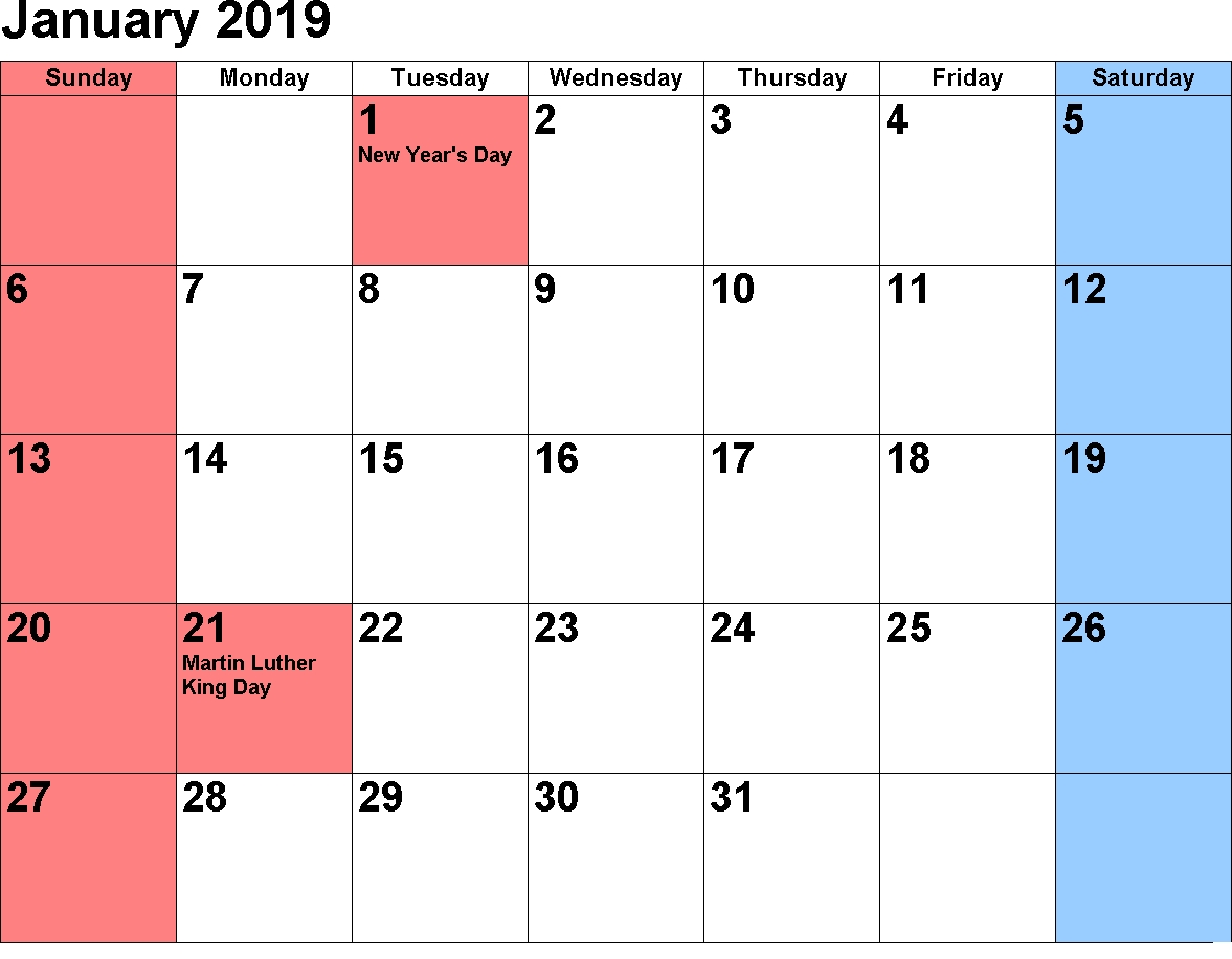 January 2019 Holiday Calendar - Free November 2018 Calendar Calendar 2019 January With Holidays
