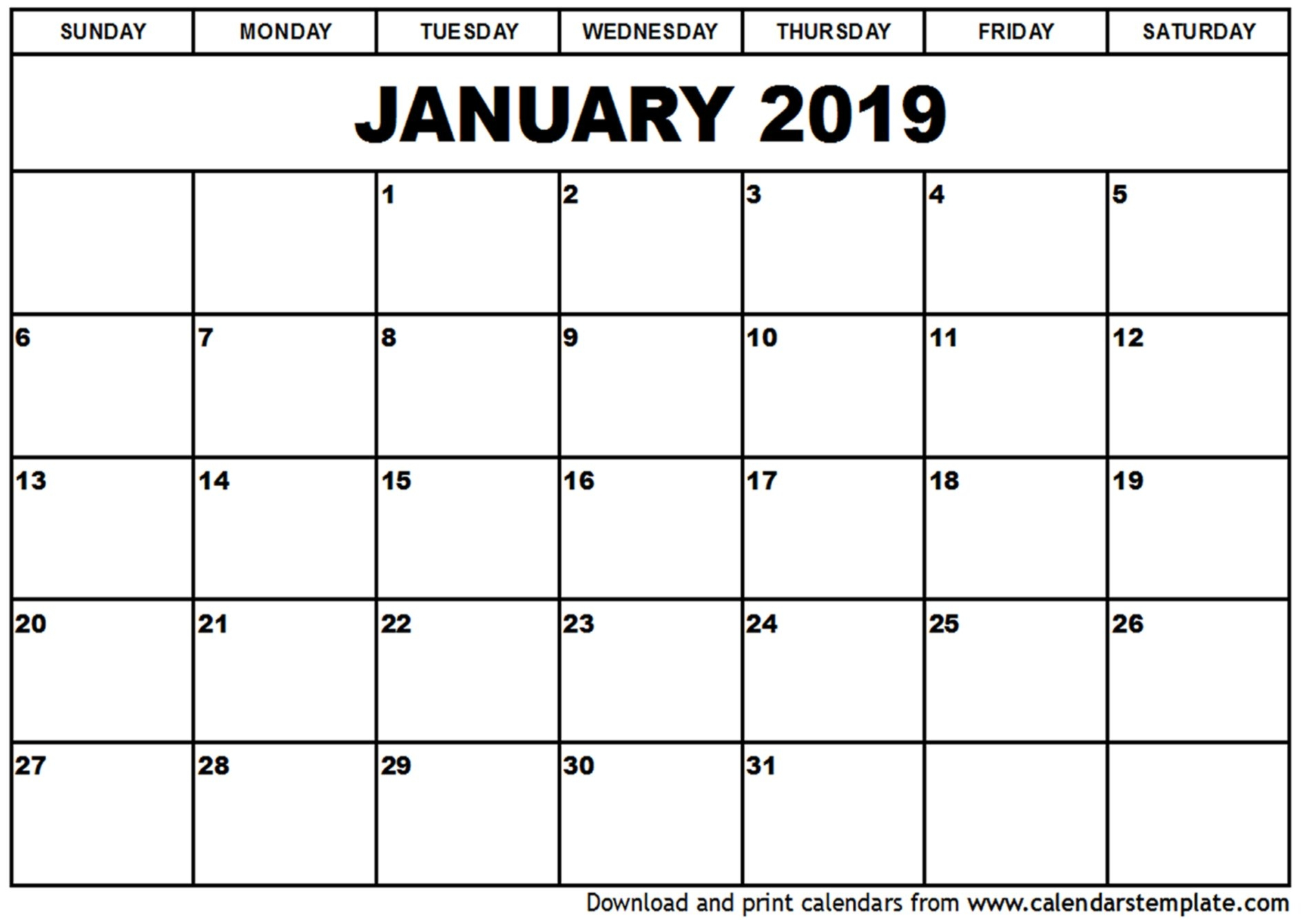 January 2019 Printable Calendar | 2018 Yearly Calendar Calendar 2019 Za Printanje