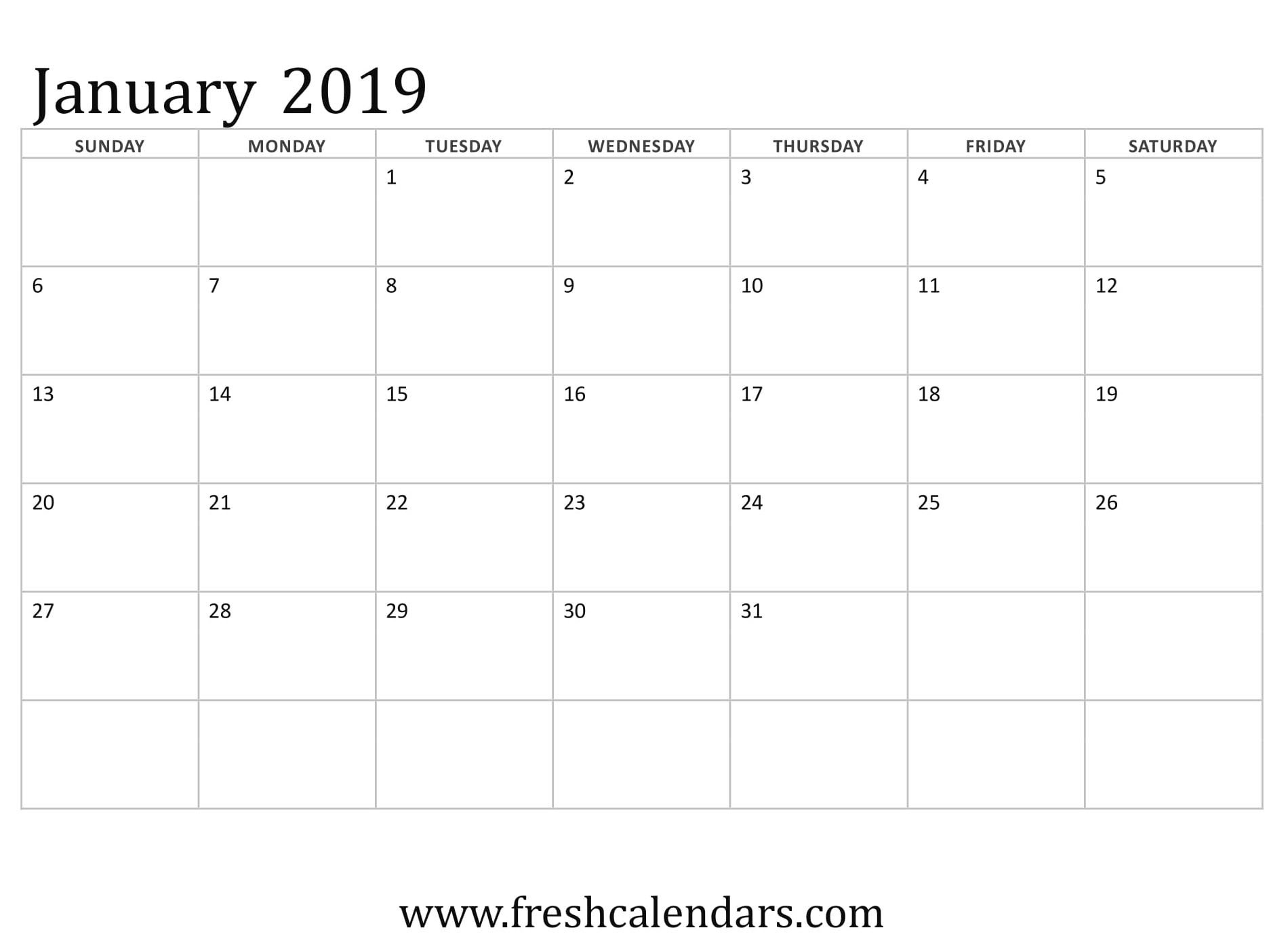 January 2019 Printable Calendars - Fresh Calendars Calendar 1/2019