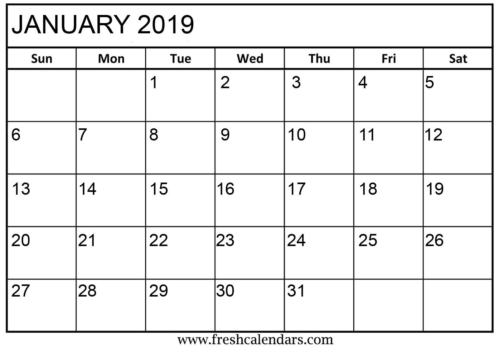 January 2019 Printable Calendars - Fresh Calendars Calendar 2019 Empty