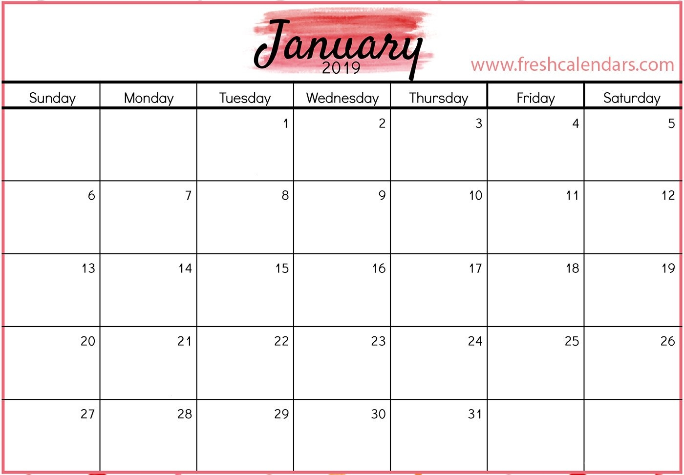 January 2019 Printable Calendars - Fresh Calendars Calendar 2019 January