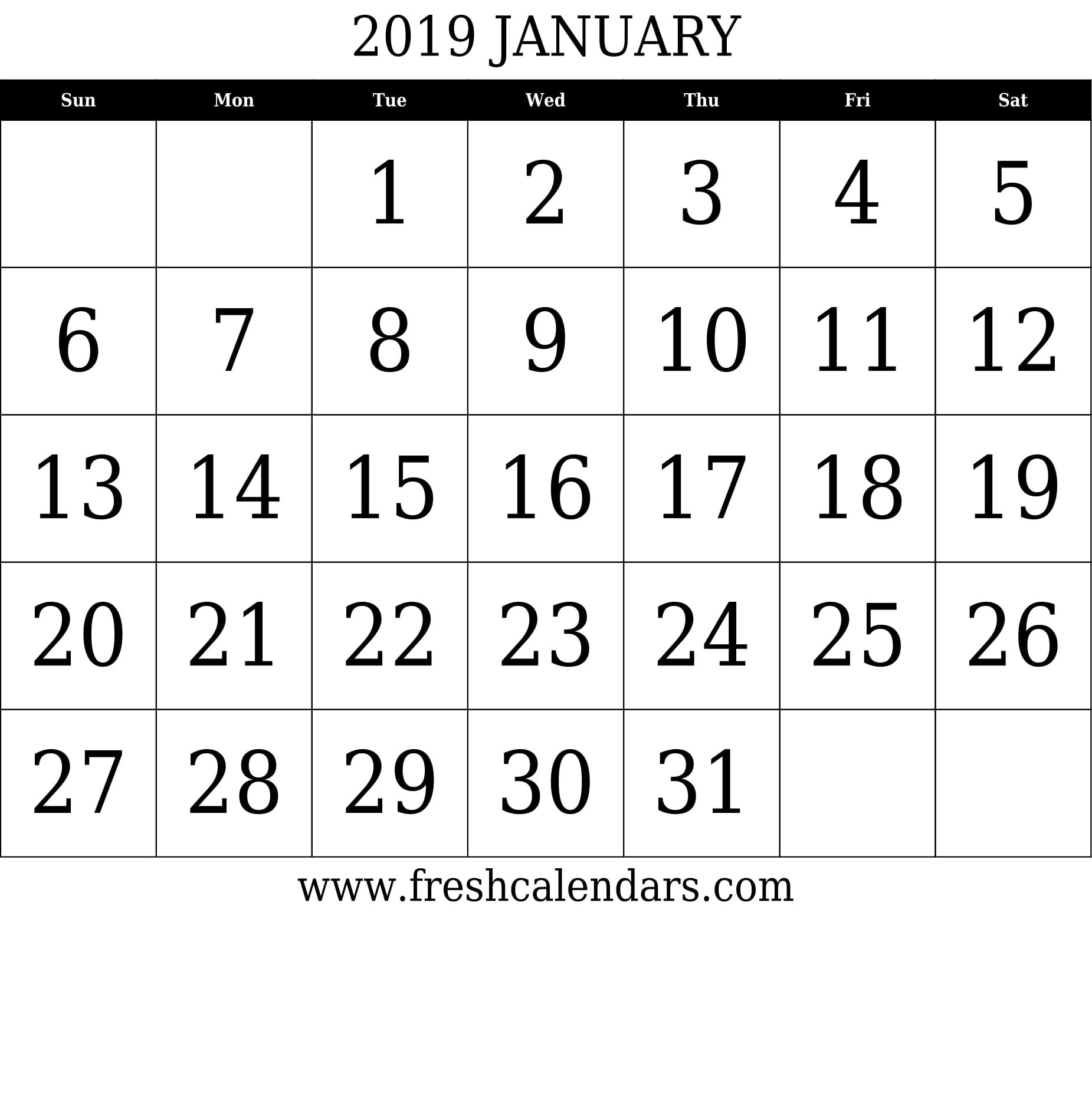 January 2019 Printable Calendars - Fresh Calendars January 7 2019 Calendar