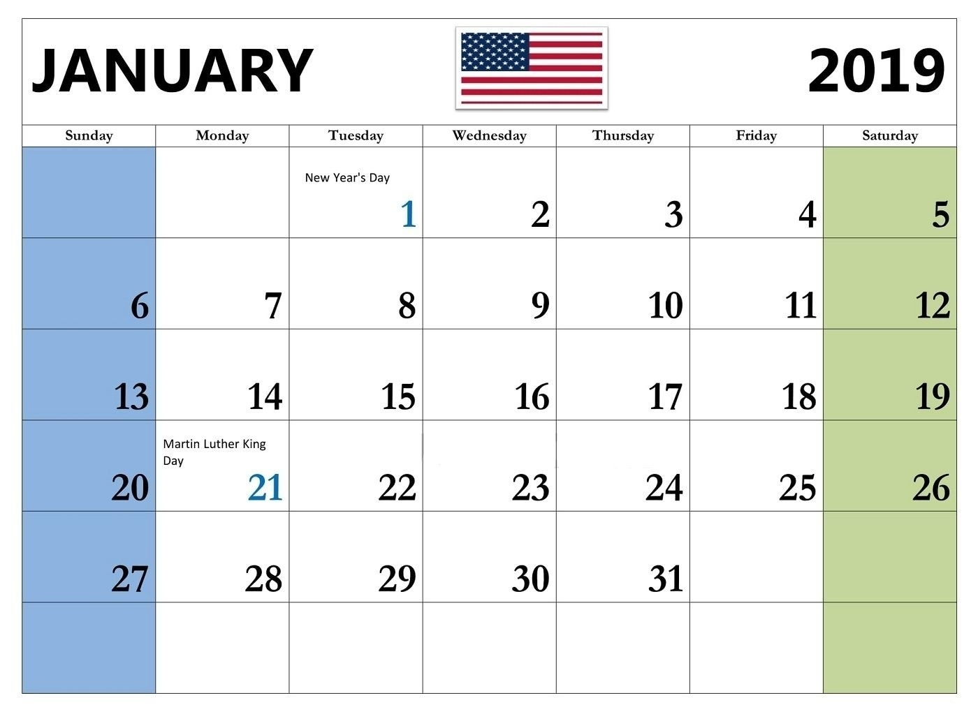 January 2019 Usa Holiday Calendar #january2019 #january2019Calendar Calendar 2019 Usa