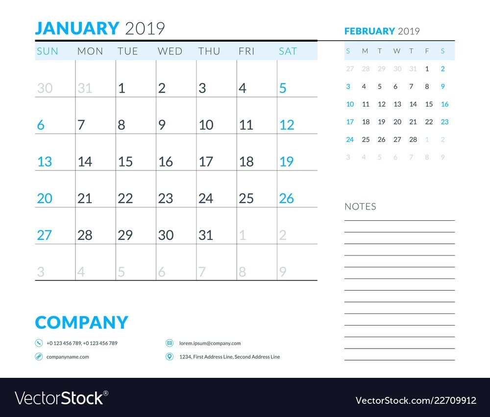 January 2019 Week Starts On Sunday Calendar Vector Image Week 1 Calendar 2019