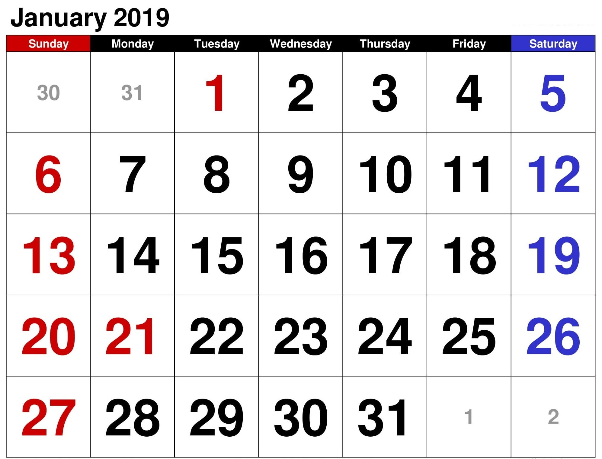 January Bank Holidays 2019 Calendar – Free Calendar Templates Calendar 2019 Bank Holidays