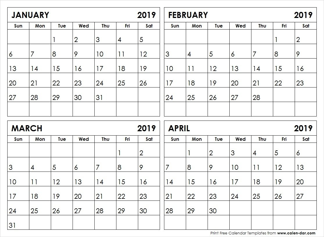 January February March April 4 Month 2019 Calendar | Printable Calendar April 4 2019 Calendar