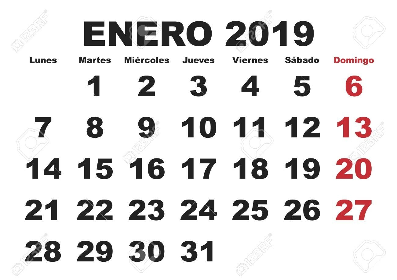 January Month In A Year 2019 Wall Calendar In Spanish. Enero Calendar 2019 Enero