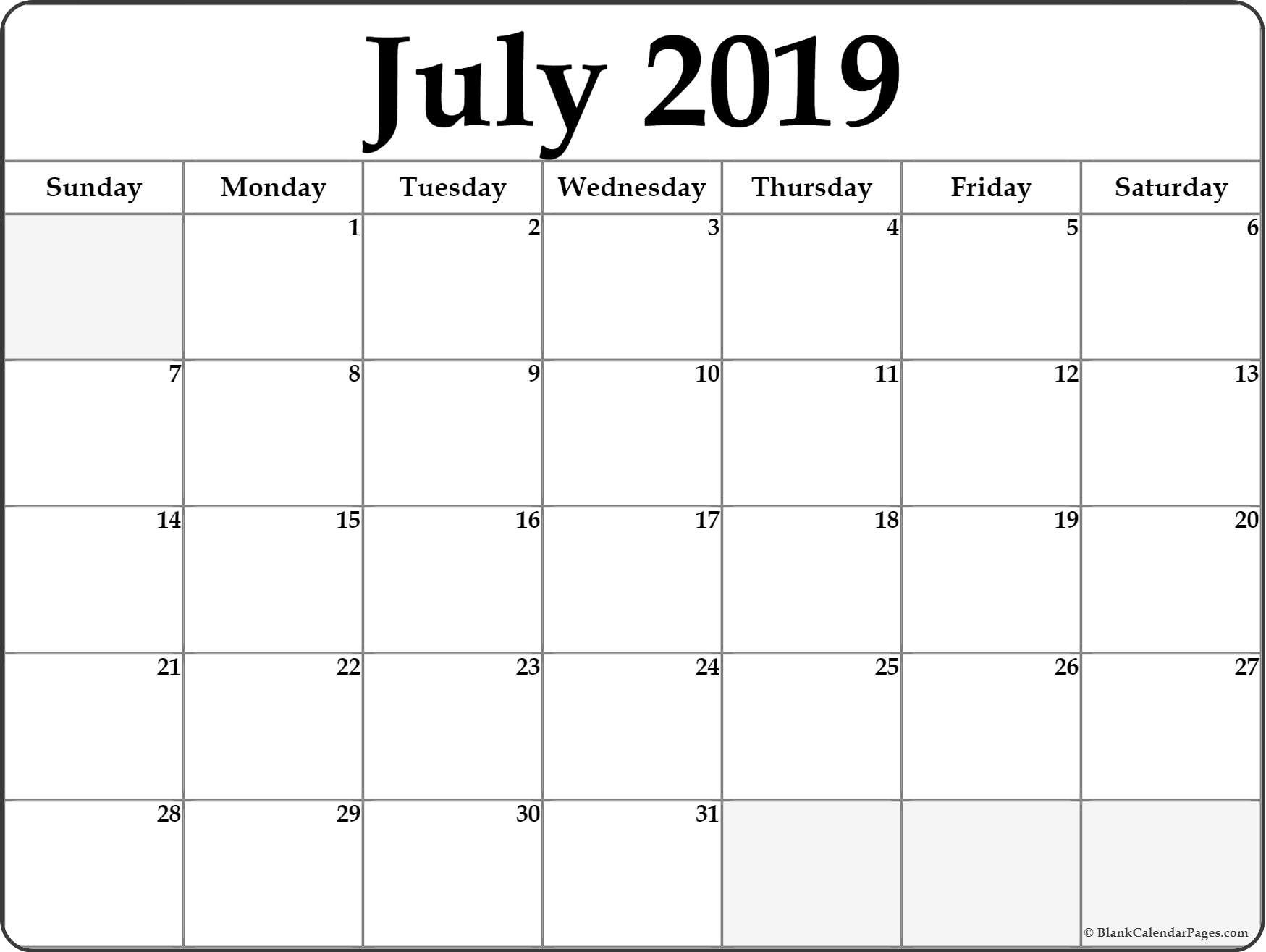 July 2019 Blank Calendar Collection. July 2 2019 Calendar
