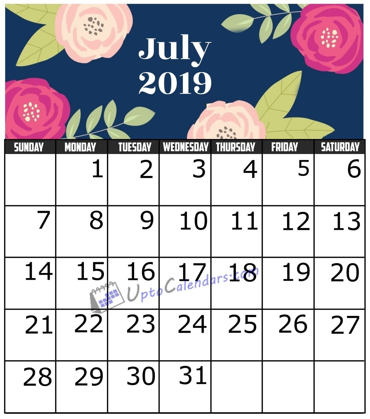 July 2019 Calendar Printable Template With Holidays Pdf Word Excel July 7 2019 Calendar