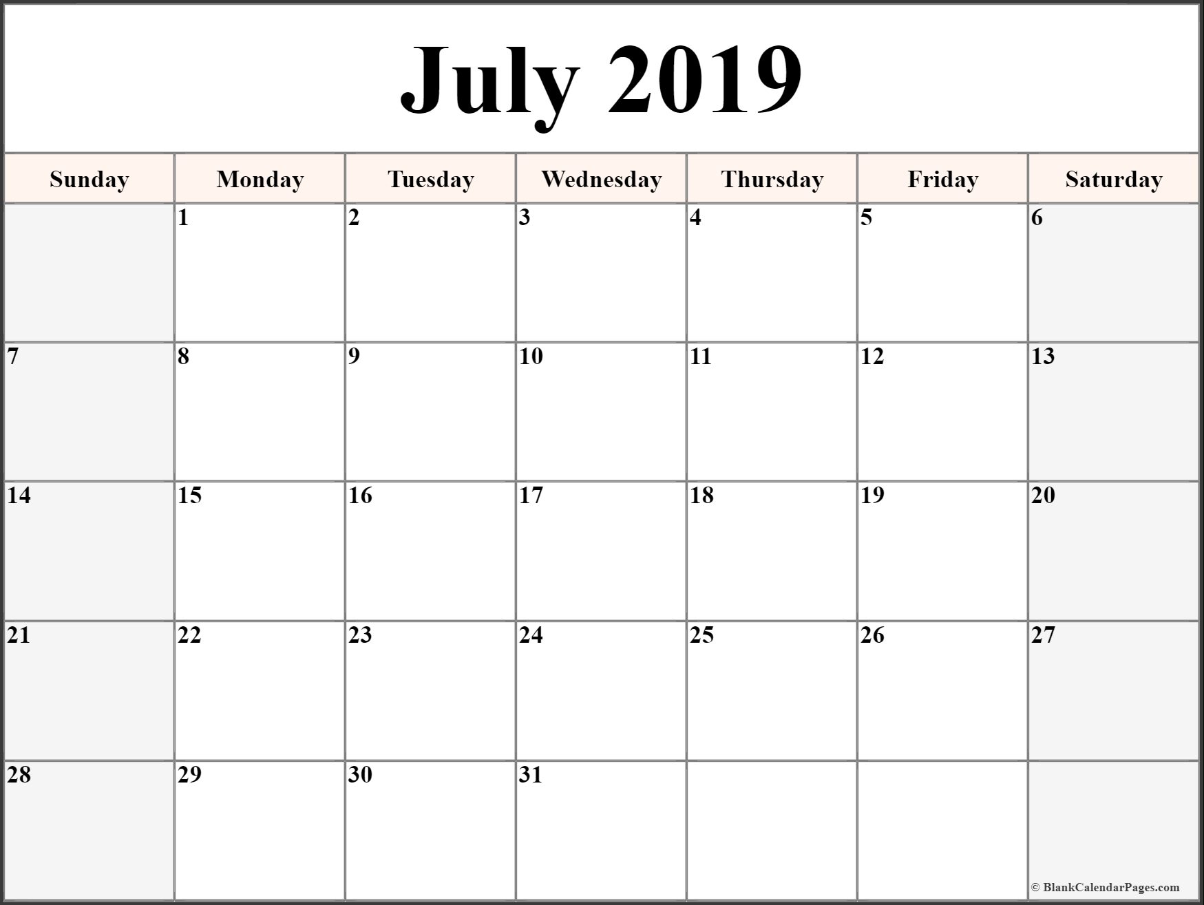 2019 Calendar - Monthly Calendar Pages to Download and Print