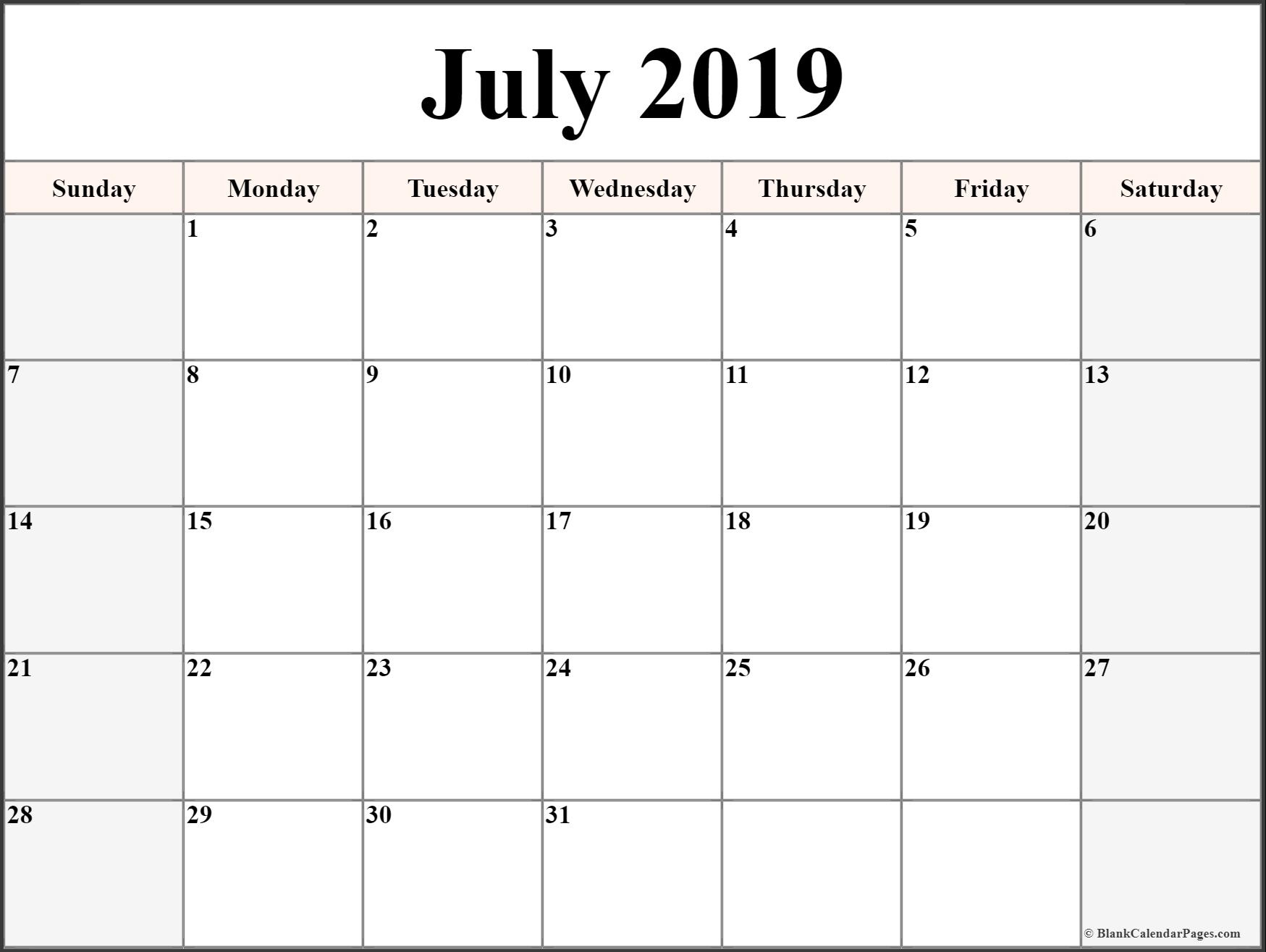 July 2019 Calendar Printable Templates | Site Provides Calendar Calendar Of 2019 July