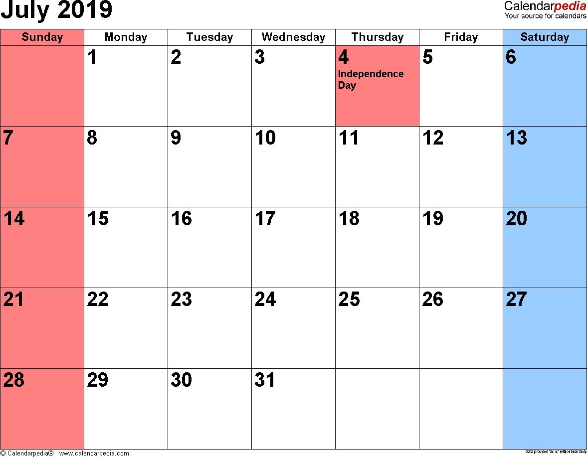 July 2019 Calendar With Holidays | July 2019 Calendar Printable July 2019 Calendar