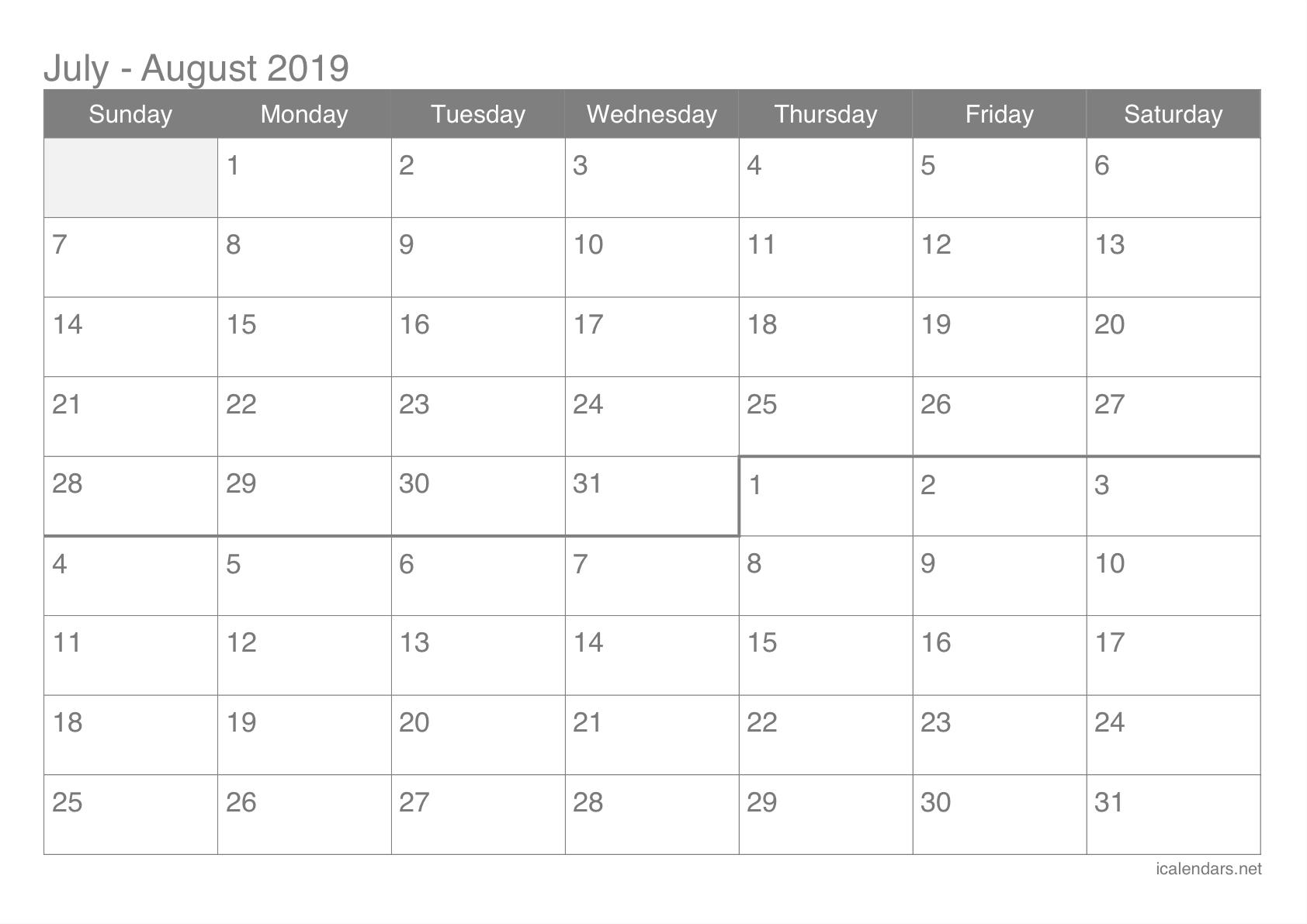 July And August 2019 Printable Calendar - Icalendars Calendar Of 2019 July